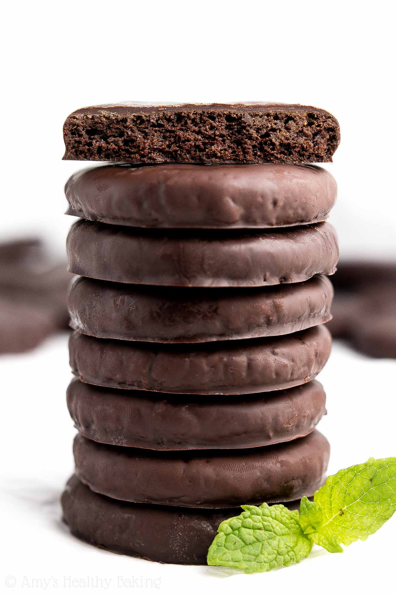 A stack of the Ultimate Healthy Homemade Thin Mint Cookies