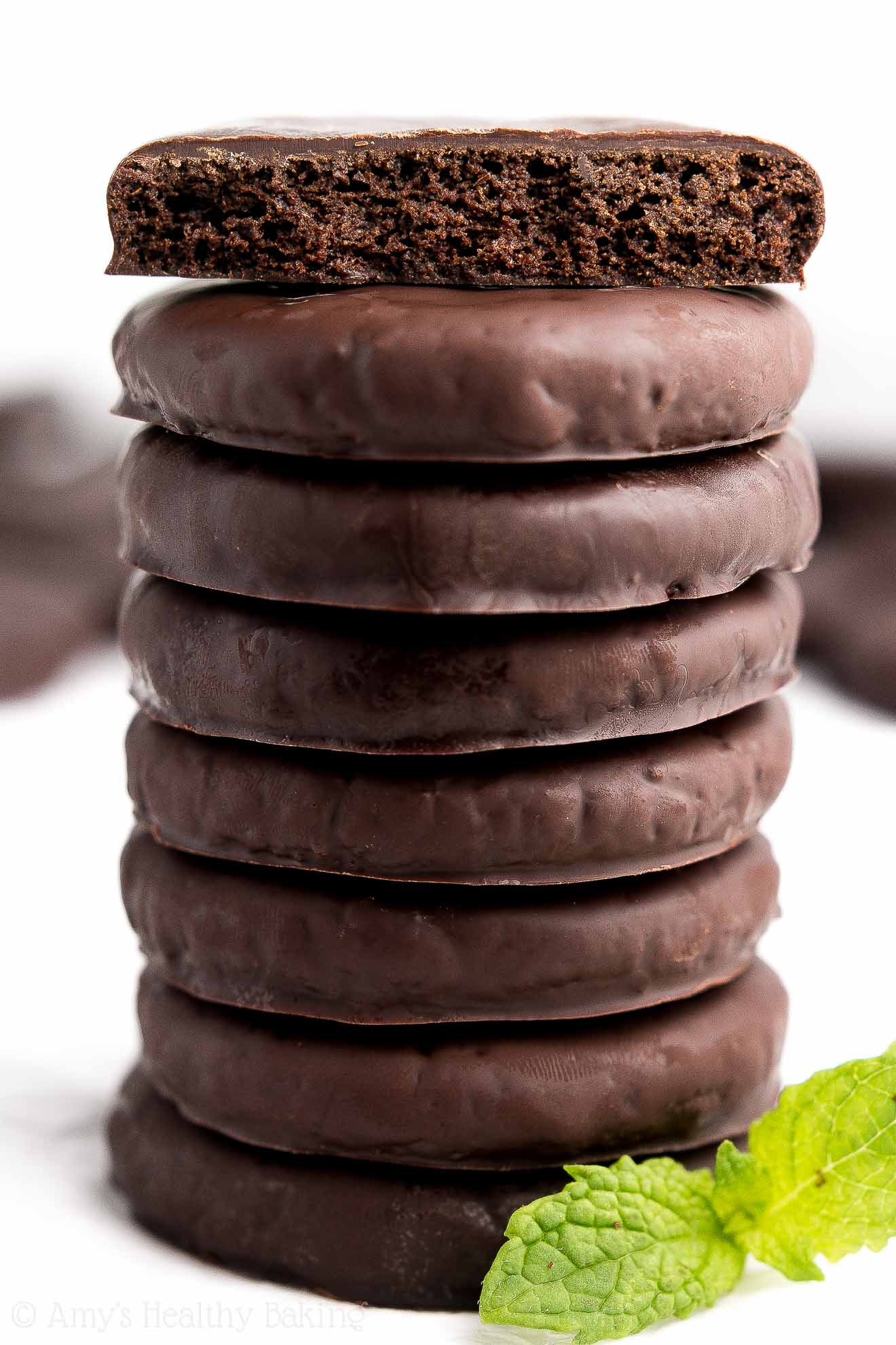 A tall stack of the ULTIMATE Healthy Homemade Thin Mint Cookies