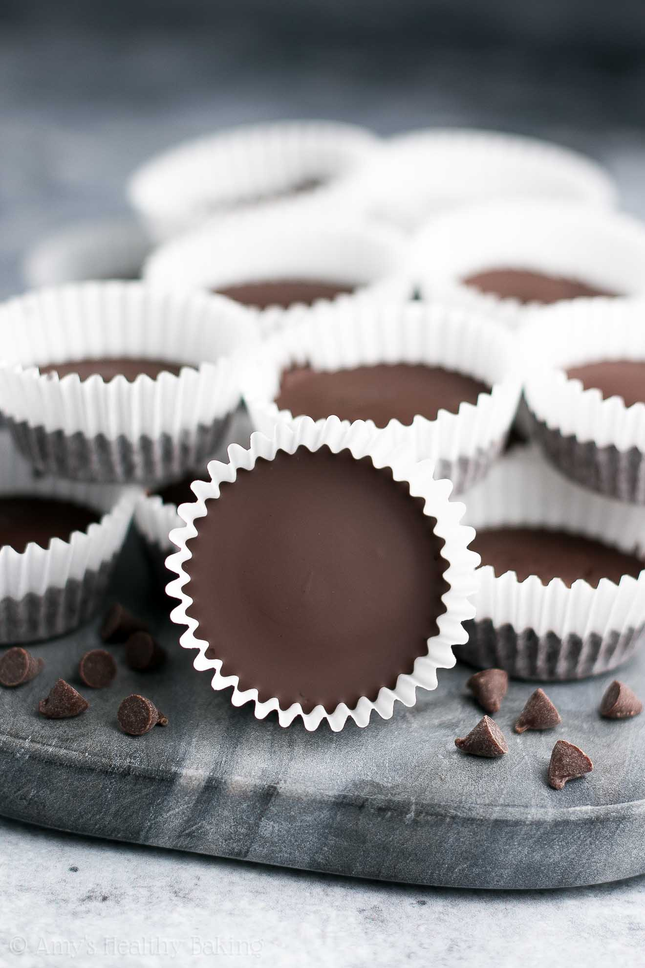 A tray of Healthy Dark Chocolate Espresso Peanut Butter Cups
