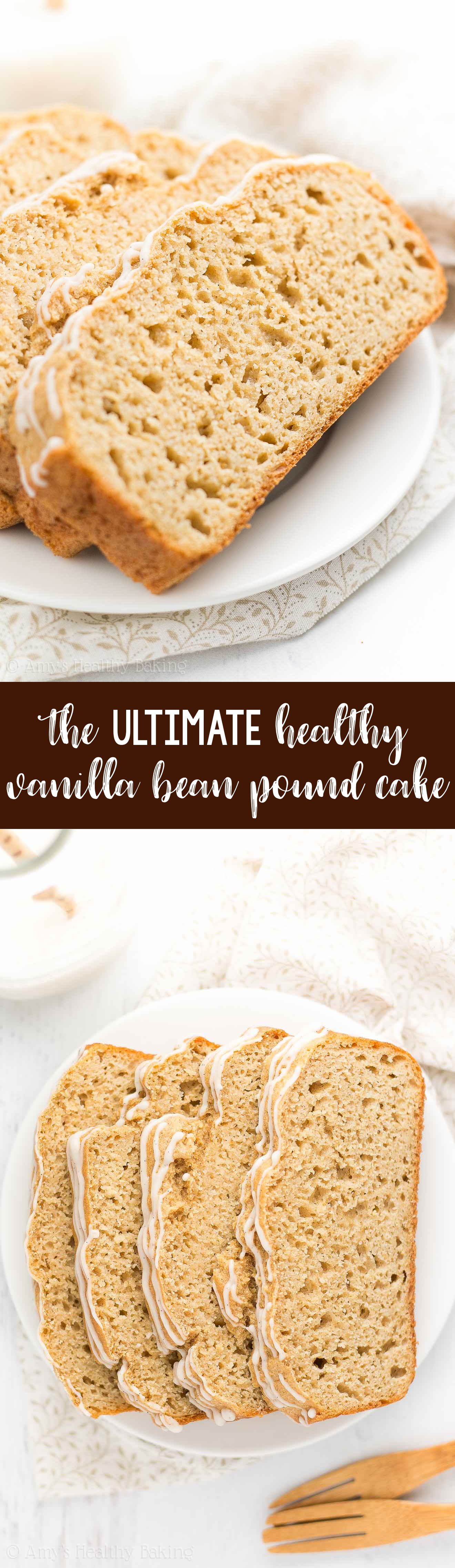 The ULTIMATE Healthy Vanilla Bean Pound Cake slices, topped with vanilla bean glaze