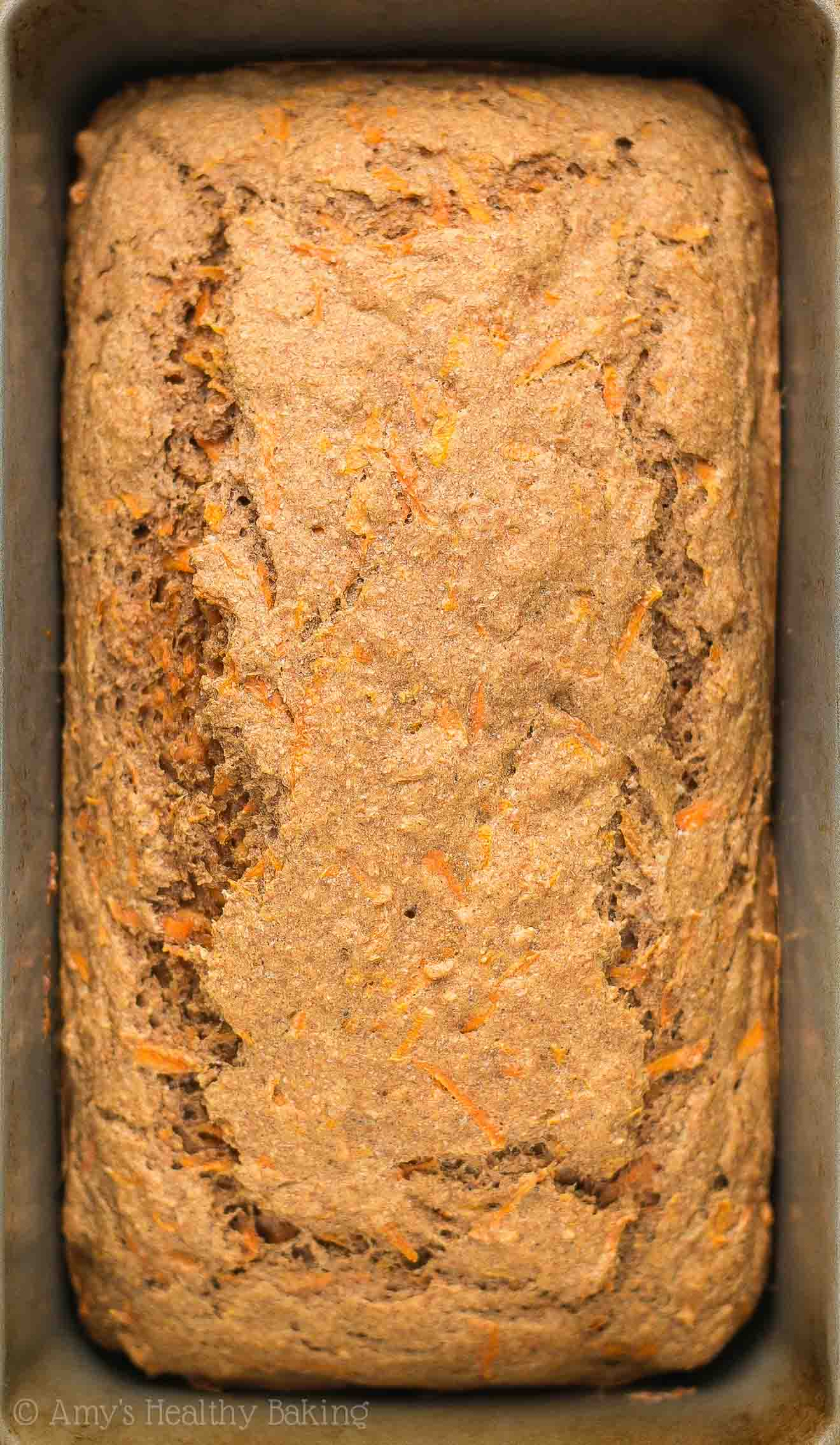 Freshly baked homemade Healthy Carrot Cake Breakfast Quick Bread in the loaf pan