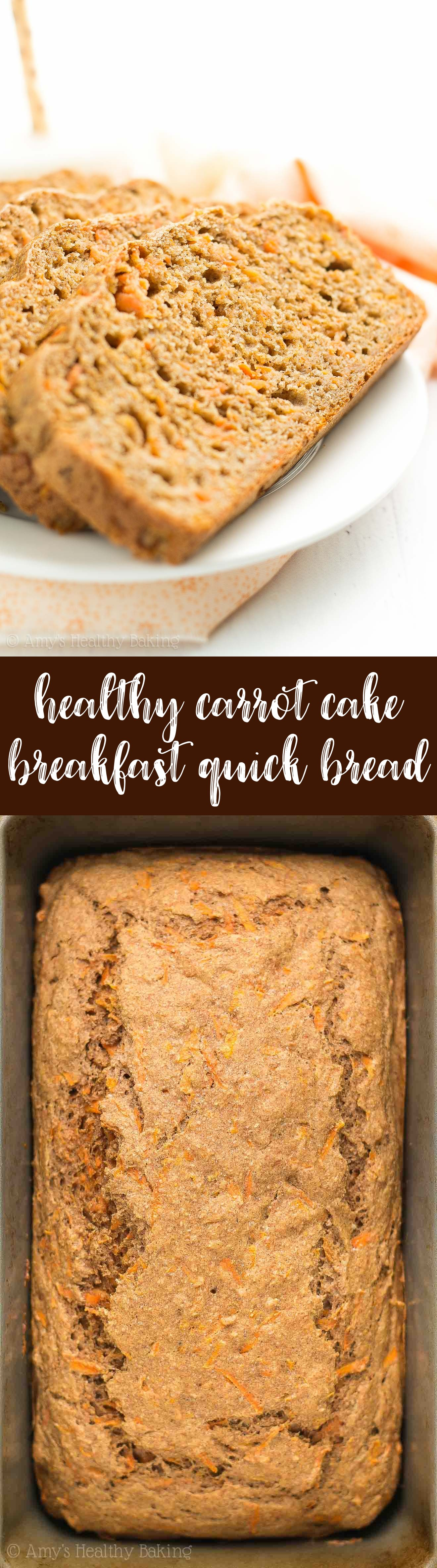Easy and Healthy Carrot Cake Breakfast Quick Bread recipe