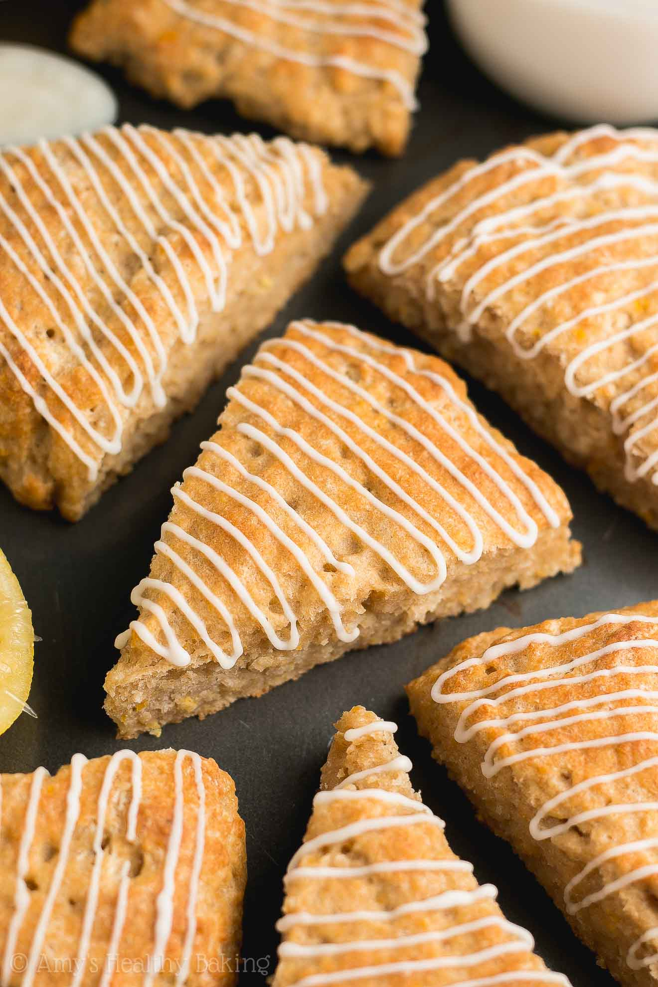 Healthy Low-Calorie Lemon Scones with Lemon Glaze