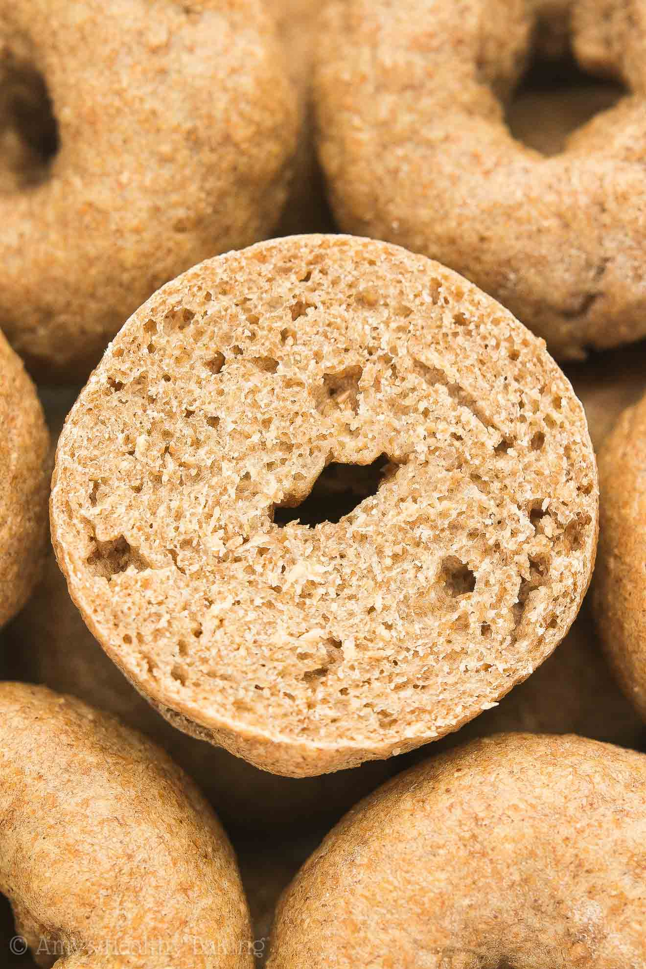 An ULTIMATE Healthy Homemade Mini Bagel, sliced in half