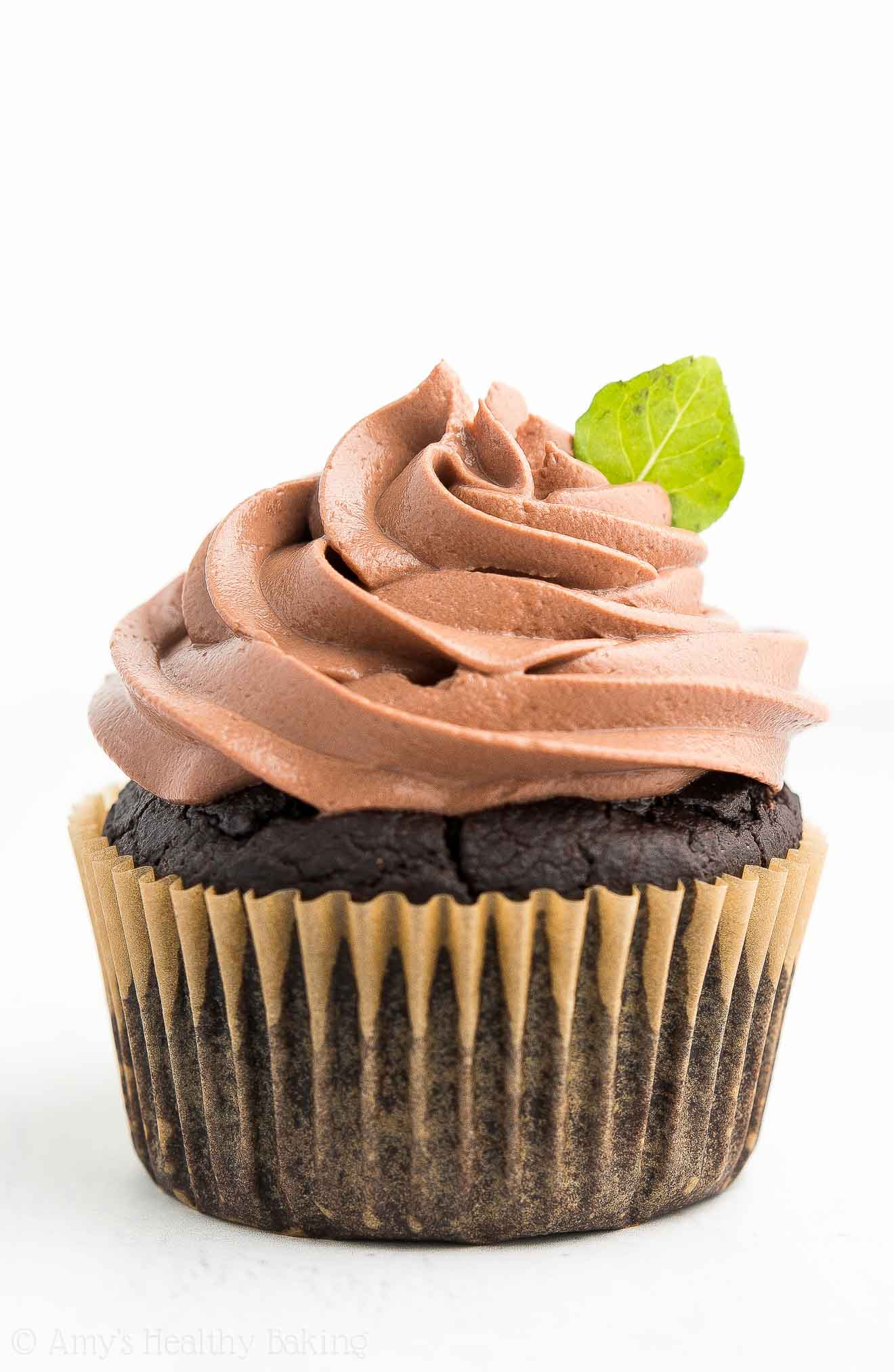 A Homemade Healthy Mint Chocolate Cupcake with Chocolate Frosting