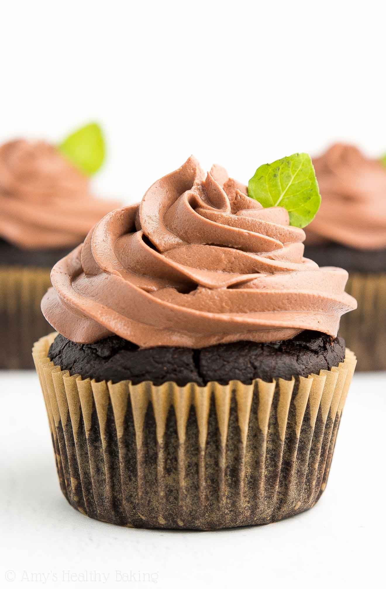 Three Healthy Sugar-Free Mint Chocolate Cupcakes, topped with Chocolate Greek Yogurt Frosting