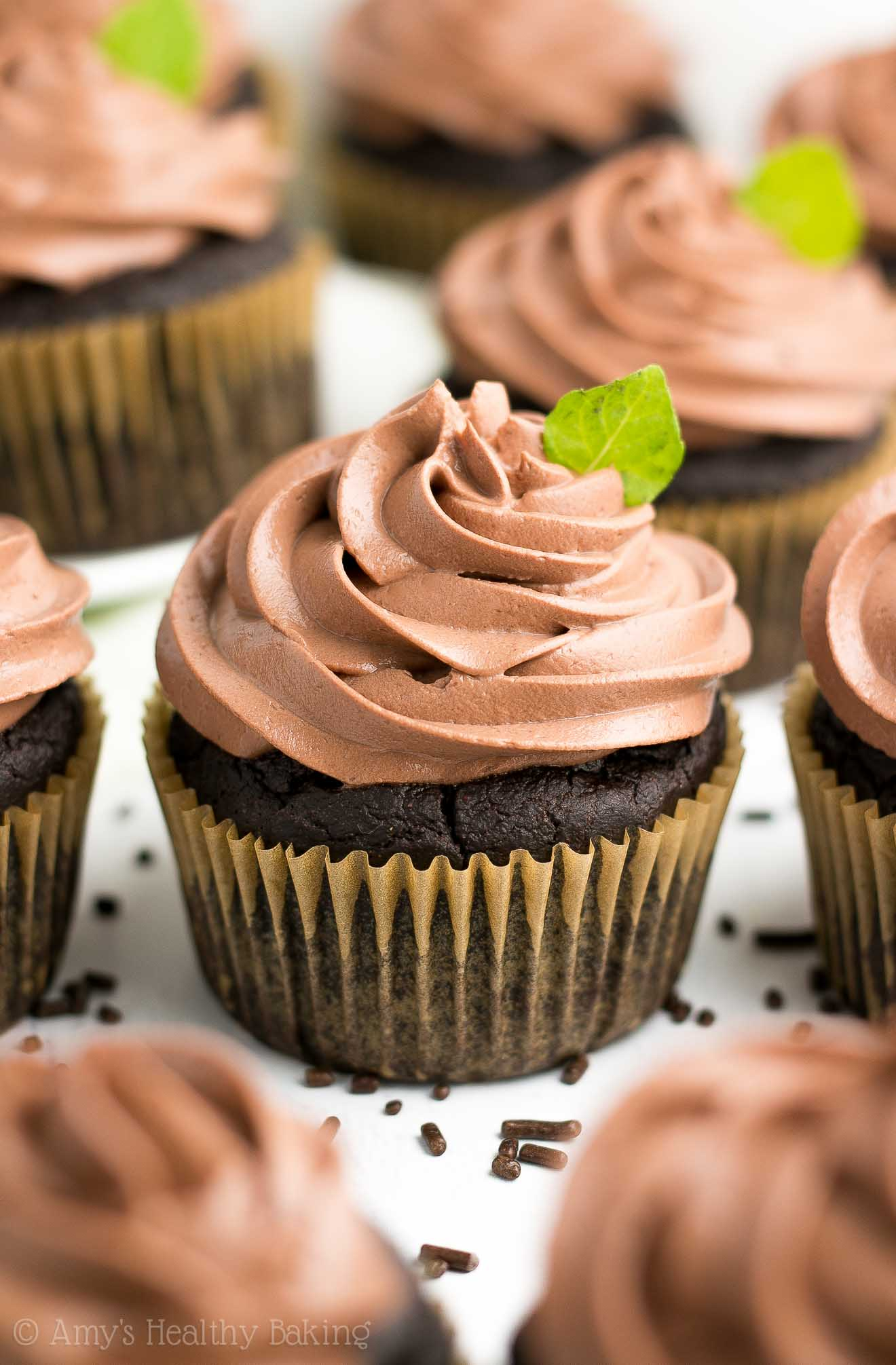 Healthy Mint Chocolate Cupcakes with Chocolate Greek Yogurt Frosting