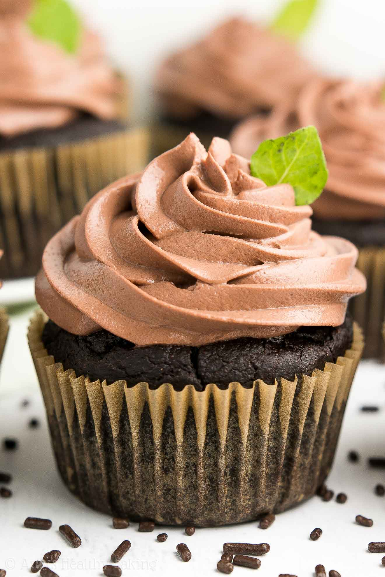 Supremely Tender Healthy Homemade Mint Chocolate Cupcakes