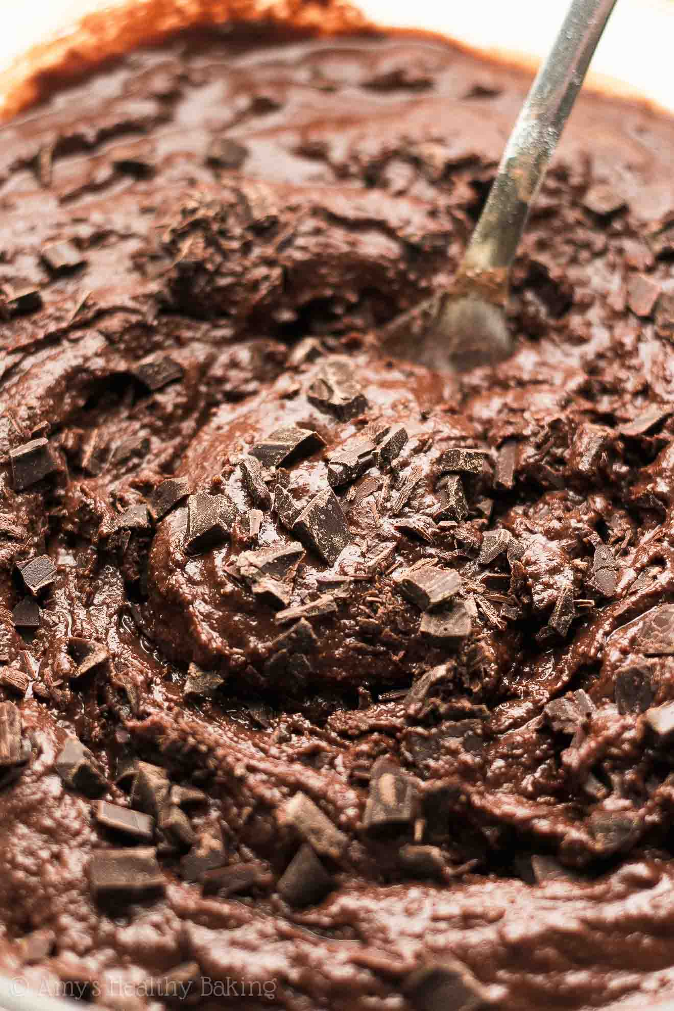 A bowl of Healthy One-Bowl Chocolate Chunk Brownie Batter