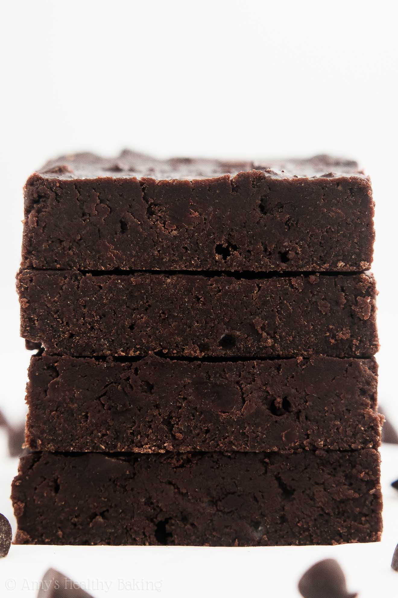 A Stack of Low-Calorie Healthy One-Bowl Chocolate Chunk Brownies