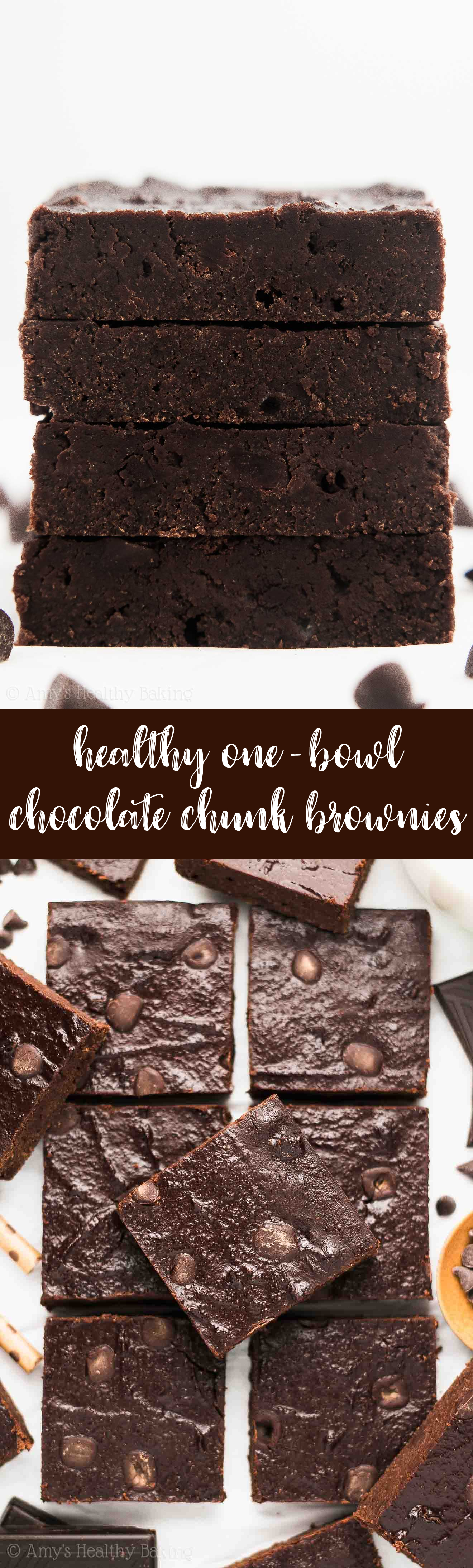 The Best Fudgy and Healthy One-Bowl Chocolate Chunk Brownies