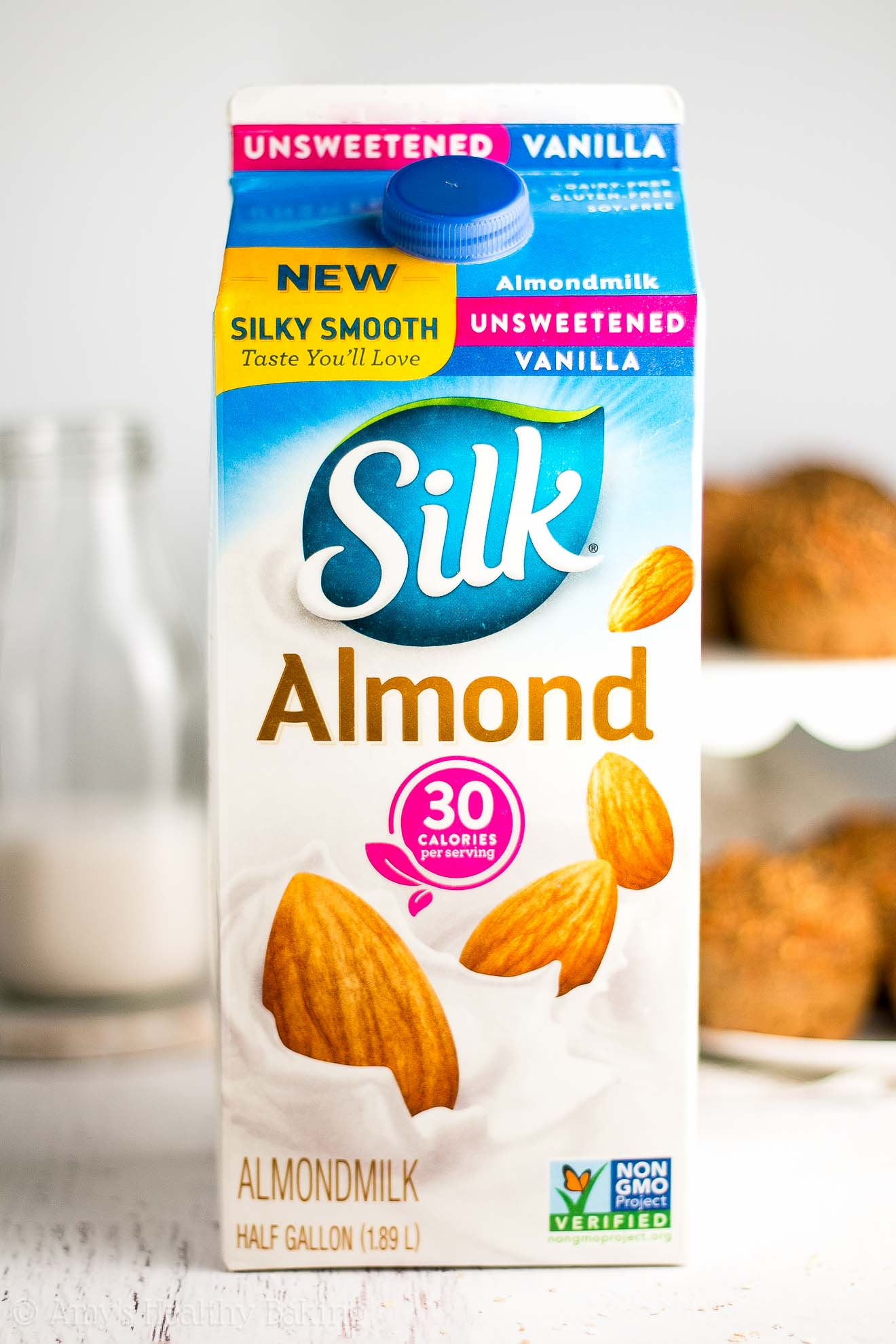 Half gallon carton of Silk unsweetened vanilla almond milk