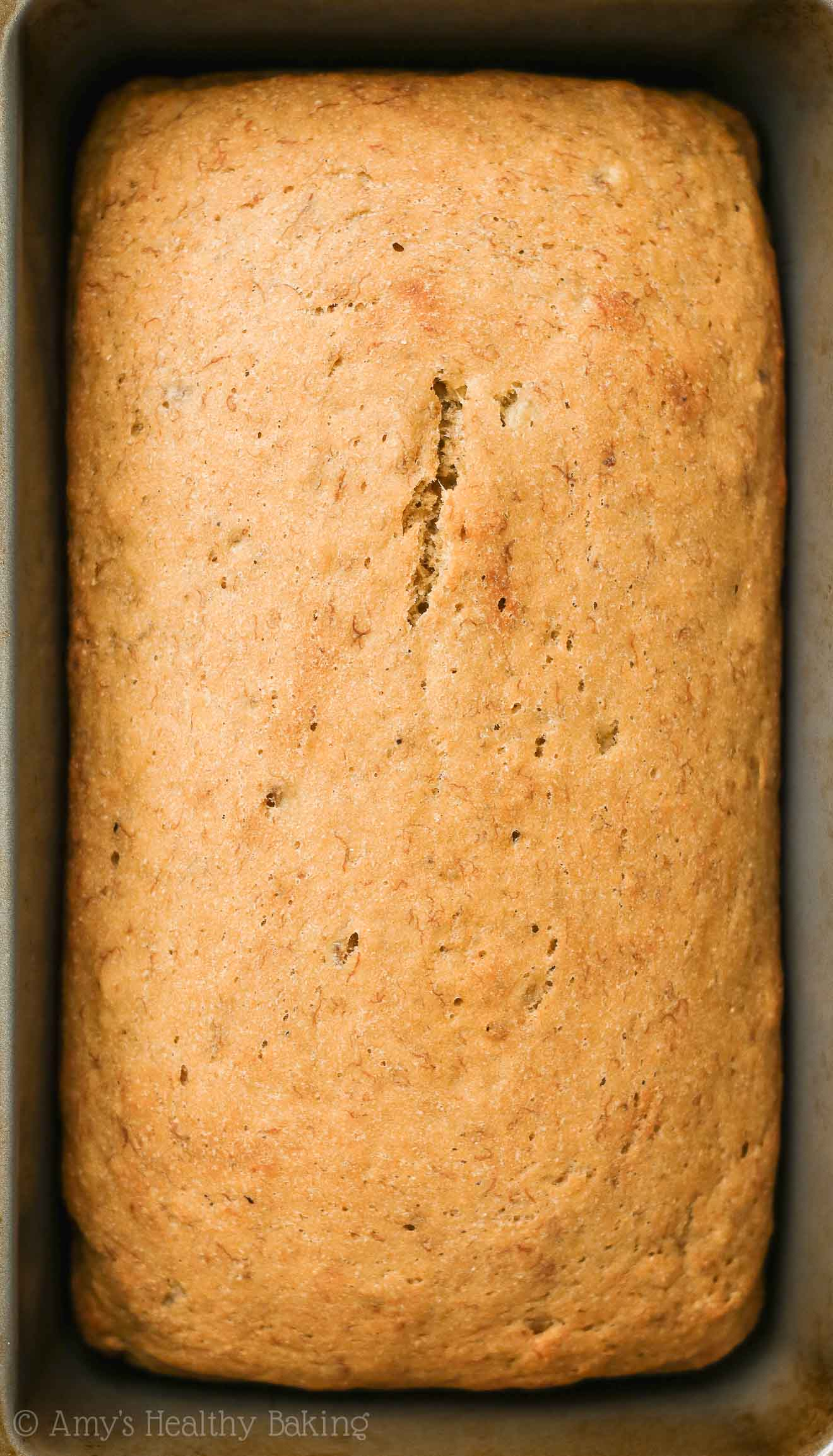 Freshly Baked Loaf of the ULTIMATE Healthy Banana Bread made with no refined sugar