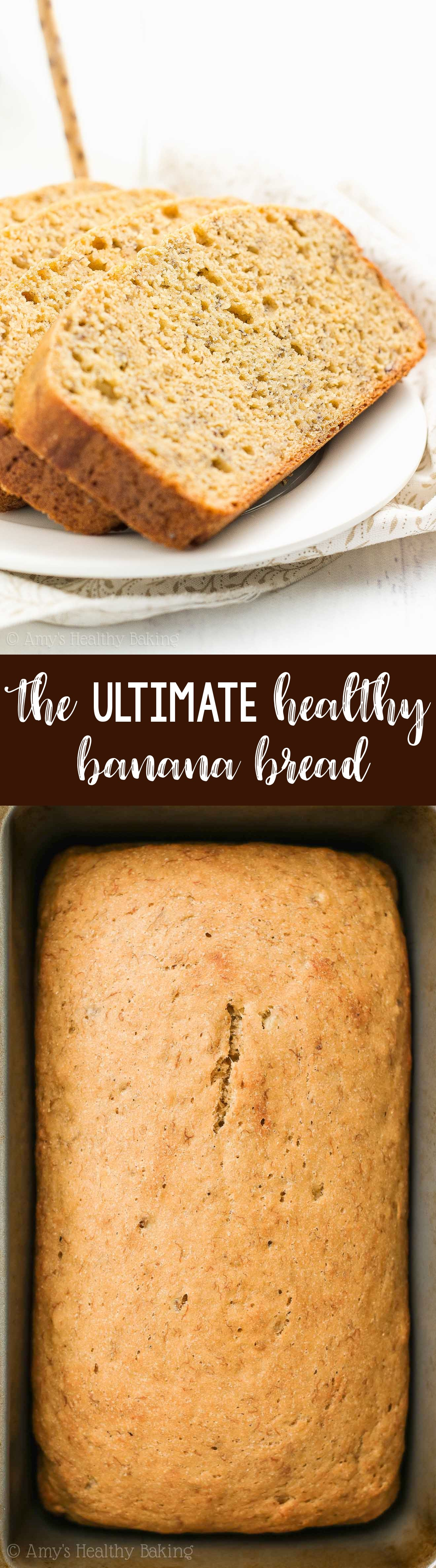 The ULTIMATE Healthy Banana Bread Recipe, which is clean eating and gluten free and low calorie