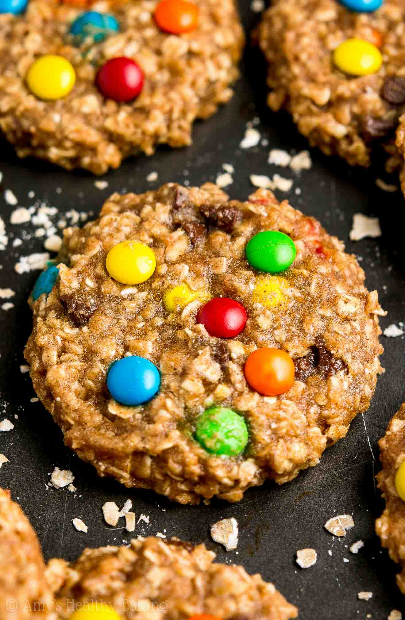 Healthy Vegan Chocolate Chip Peanut Butter Oatmeal Cookies with M&Ms