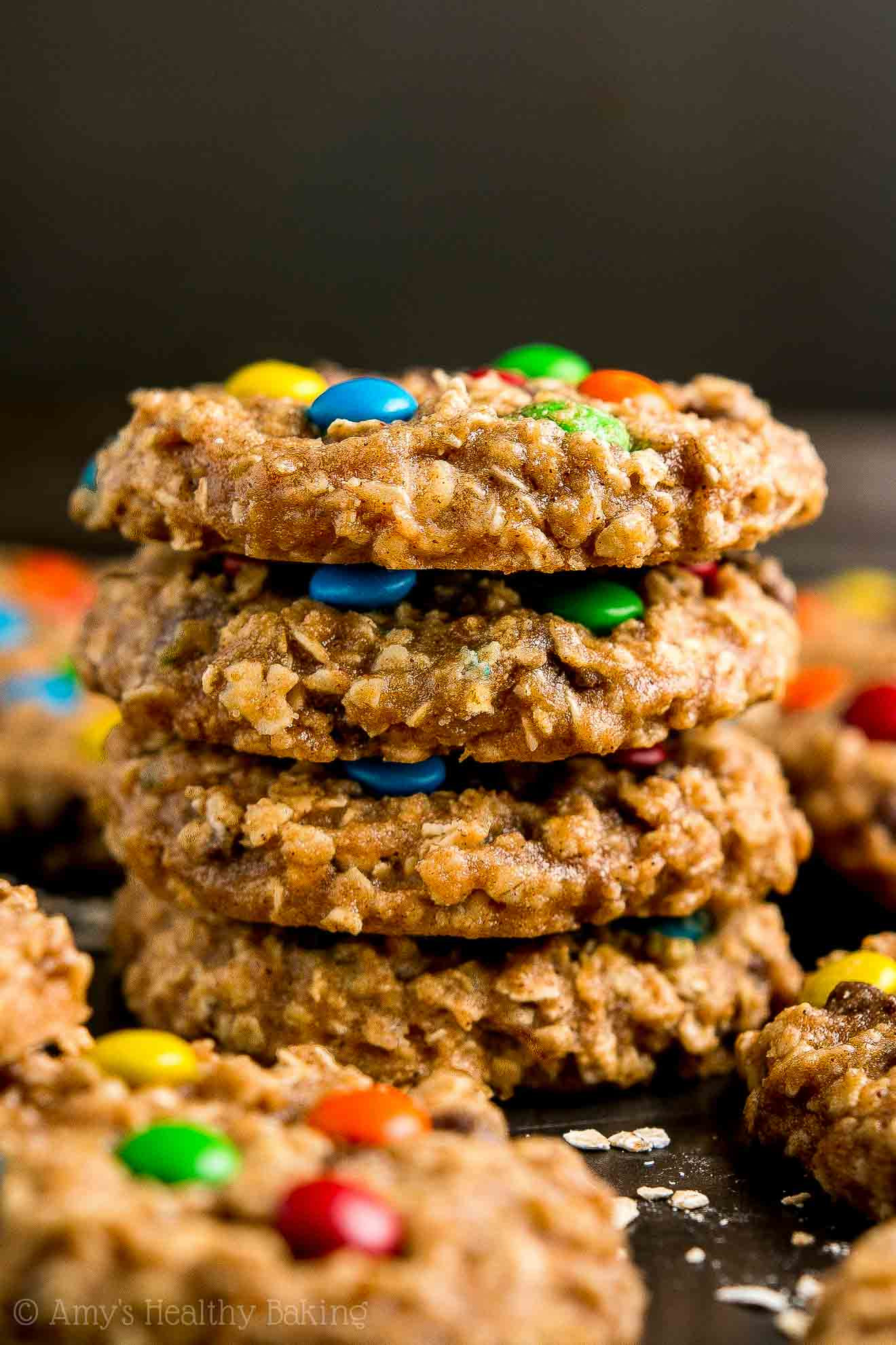Healthy Gluten Free Chocolate Chip Peanut Butter Oatmeal Cookies with M&Ms