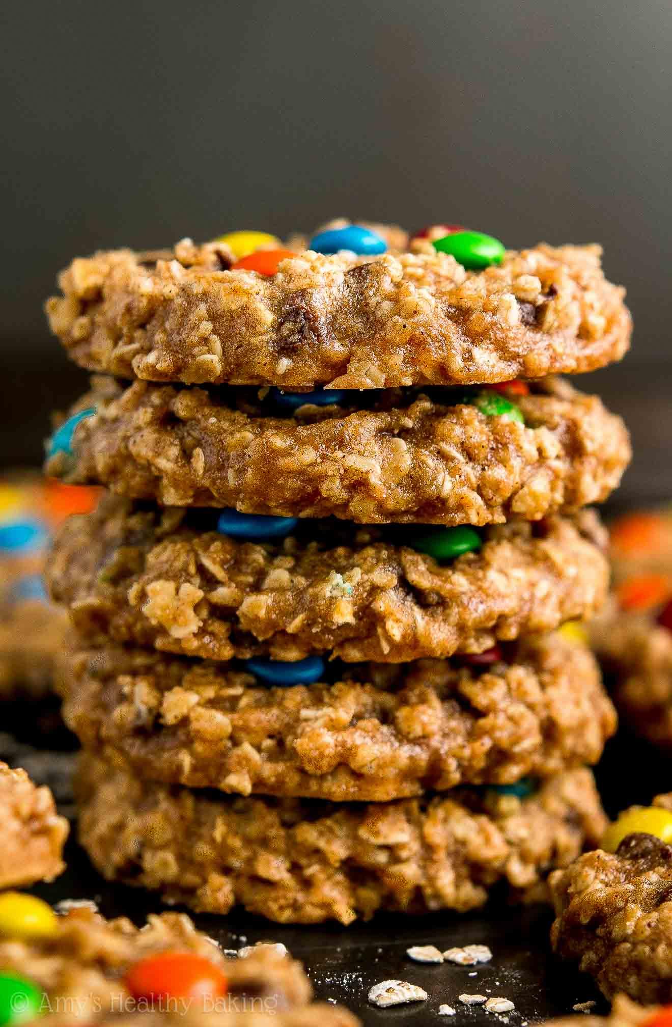 Easy Low-Calorie Healthy Banana Monster Cookies