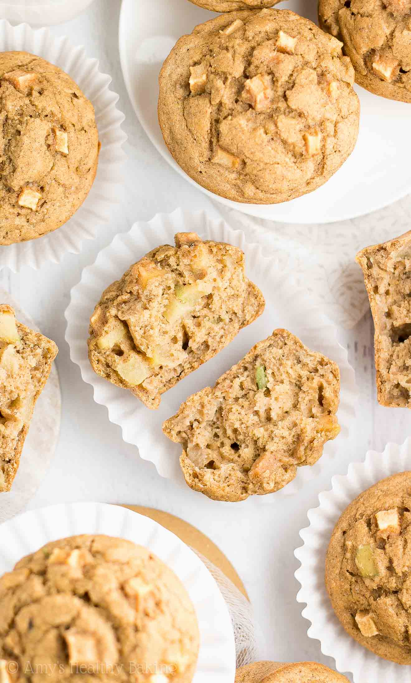 Healthy Cinnamon Apple Banana Muffins with No Refined Sugar