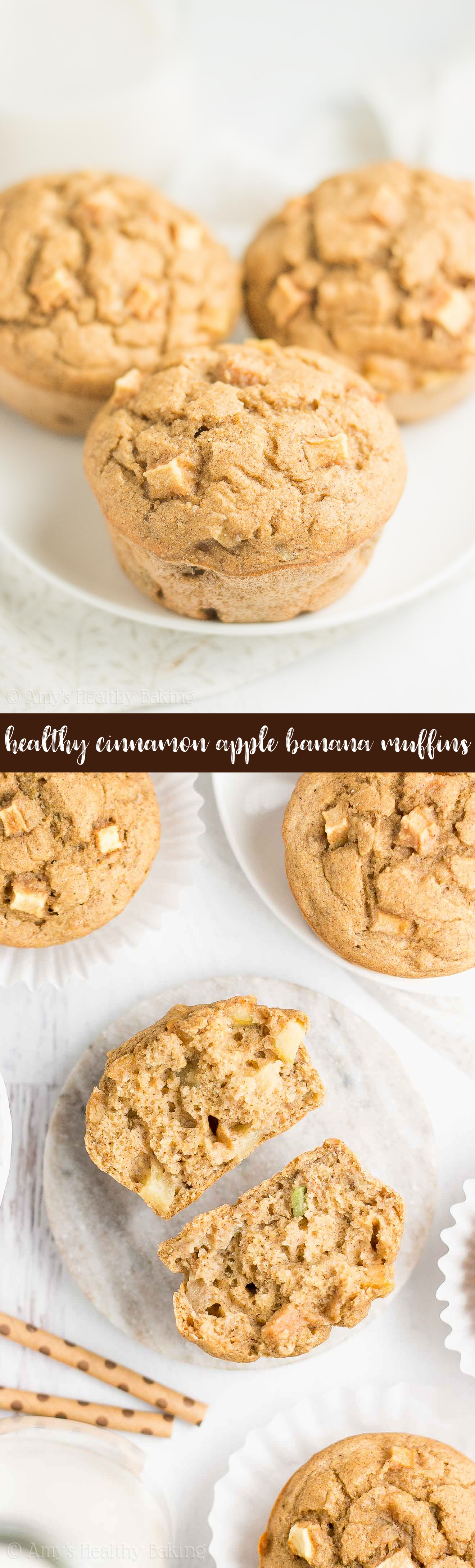 The Best Healthy Cinnamon Apple Banana Muffins
