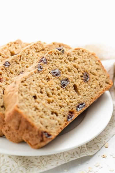 Healthy Oatmeal Raisin Breakfast Quick Bread