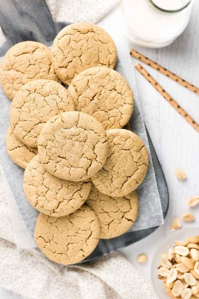 Healthy Practically Flourless Peanut Butter Cookies