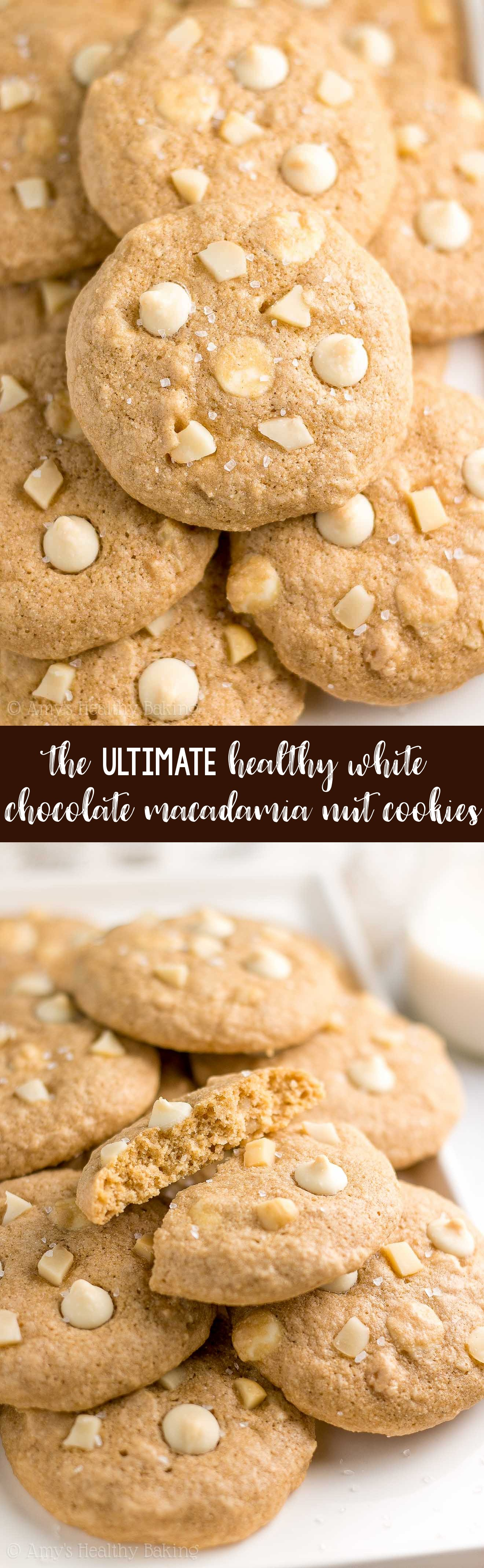 Best Healthy Low Calorie White Chocolate Macadamia Nut Cookies from scratch