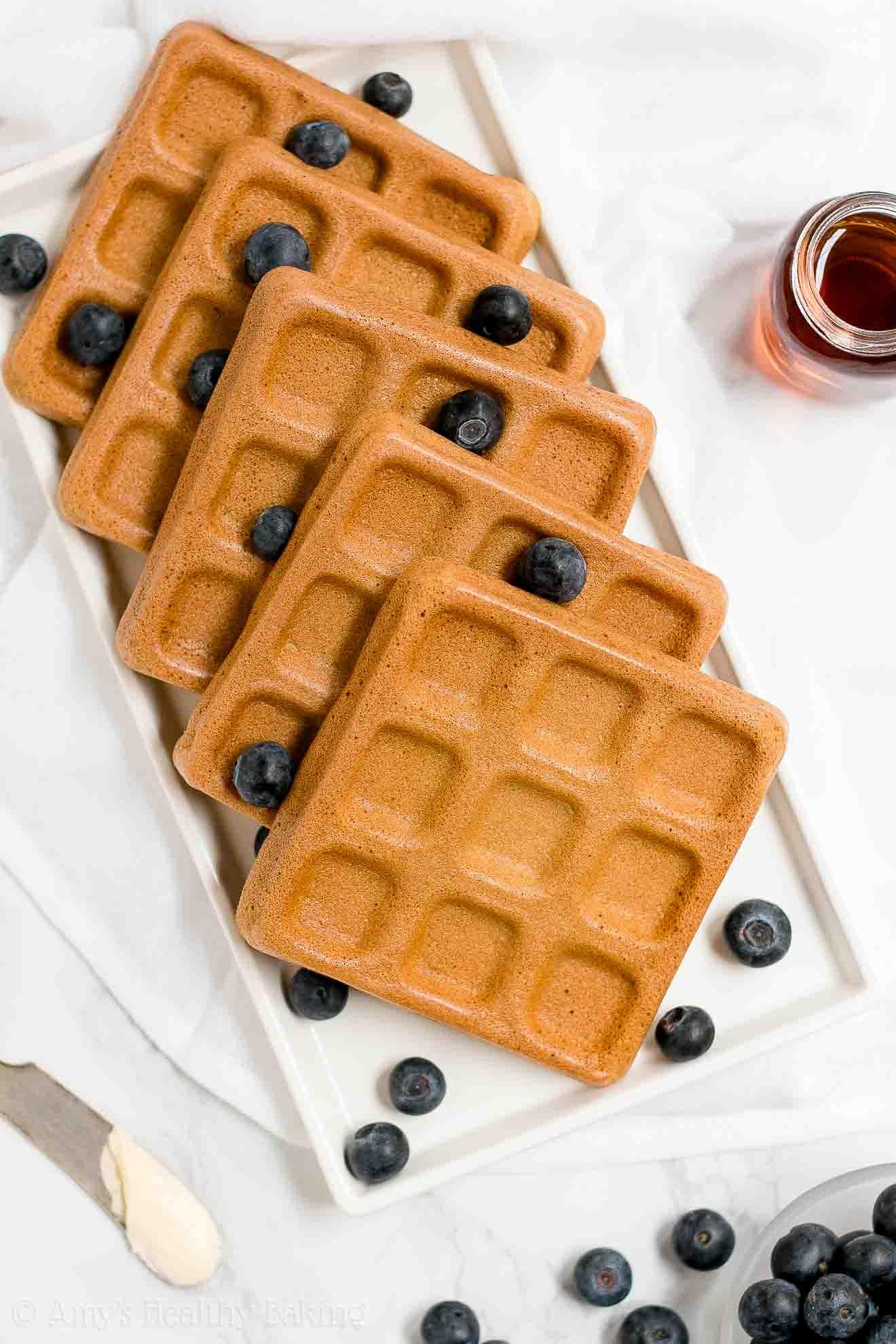 The BEST Healthy Whole Wheat Buttermilk Waffles with Greek yogurt