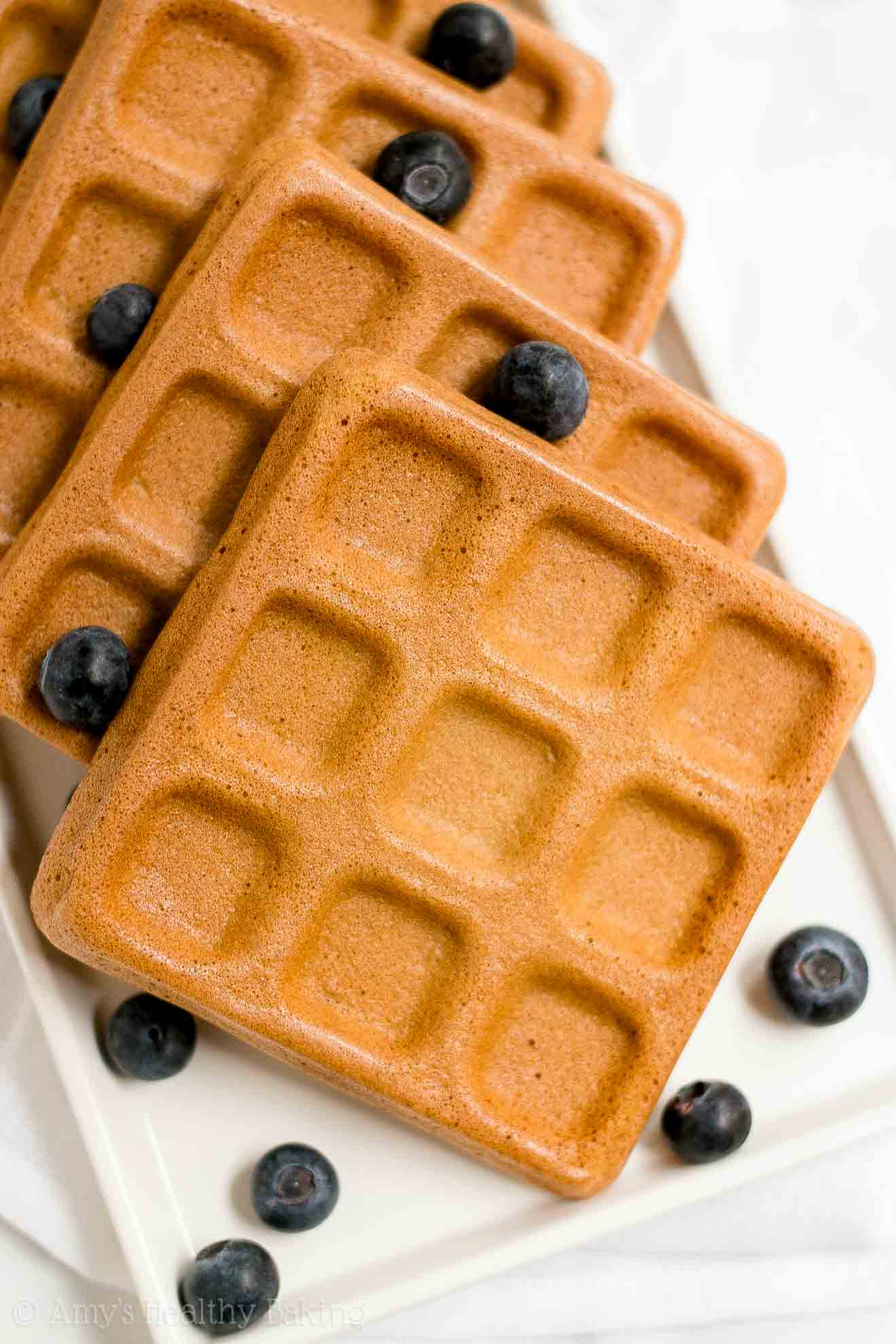 The BEST Healthy Buttermilk Waffles that are cooked without a waffle iron