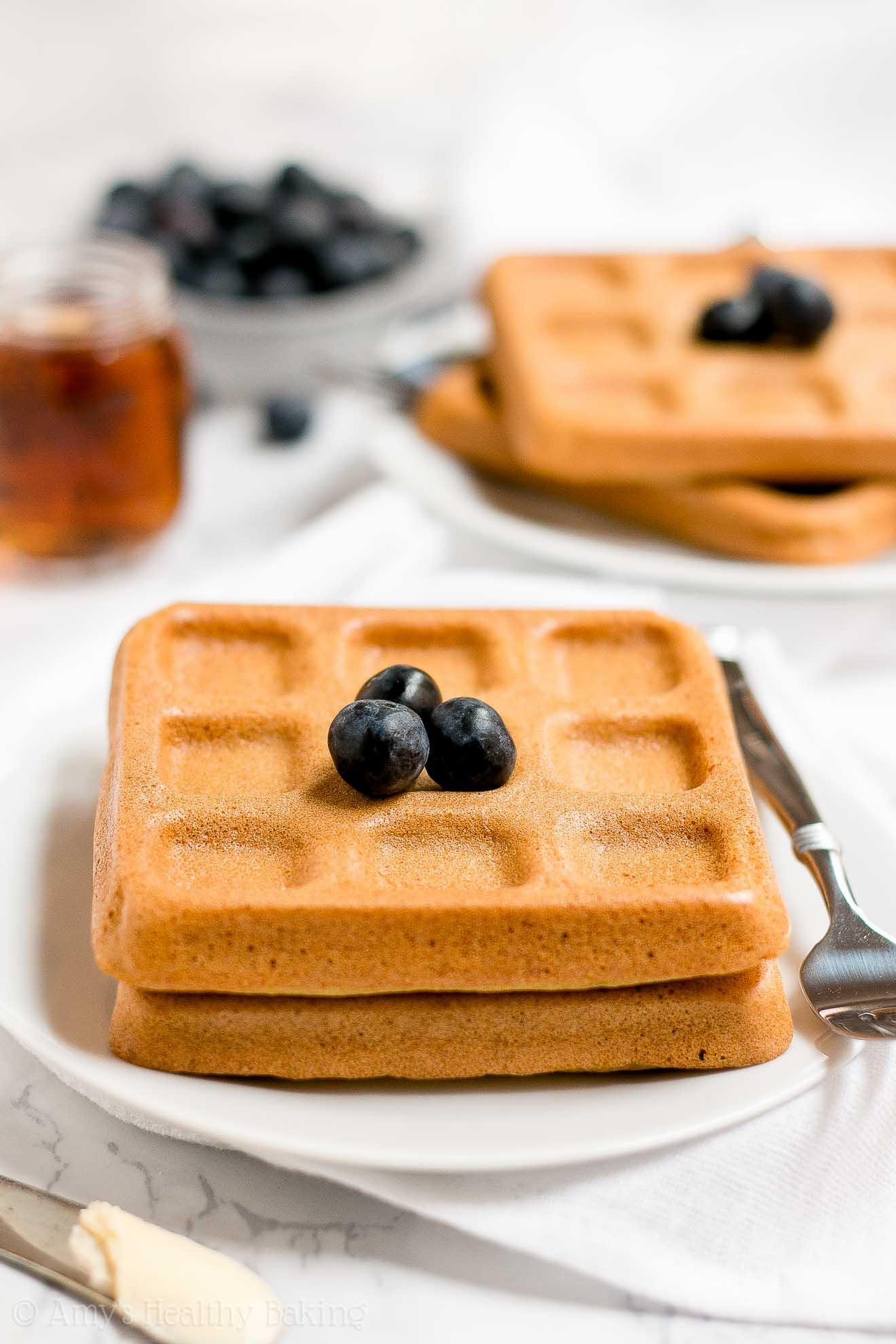 BEST Healthy Baked Buttermilk Waffles made with greek yogurt