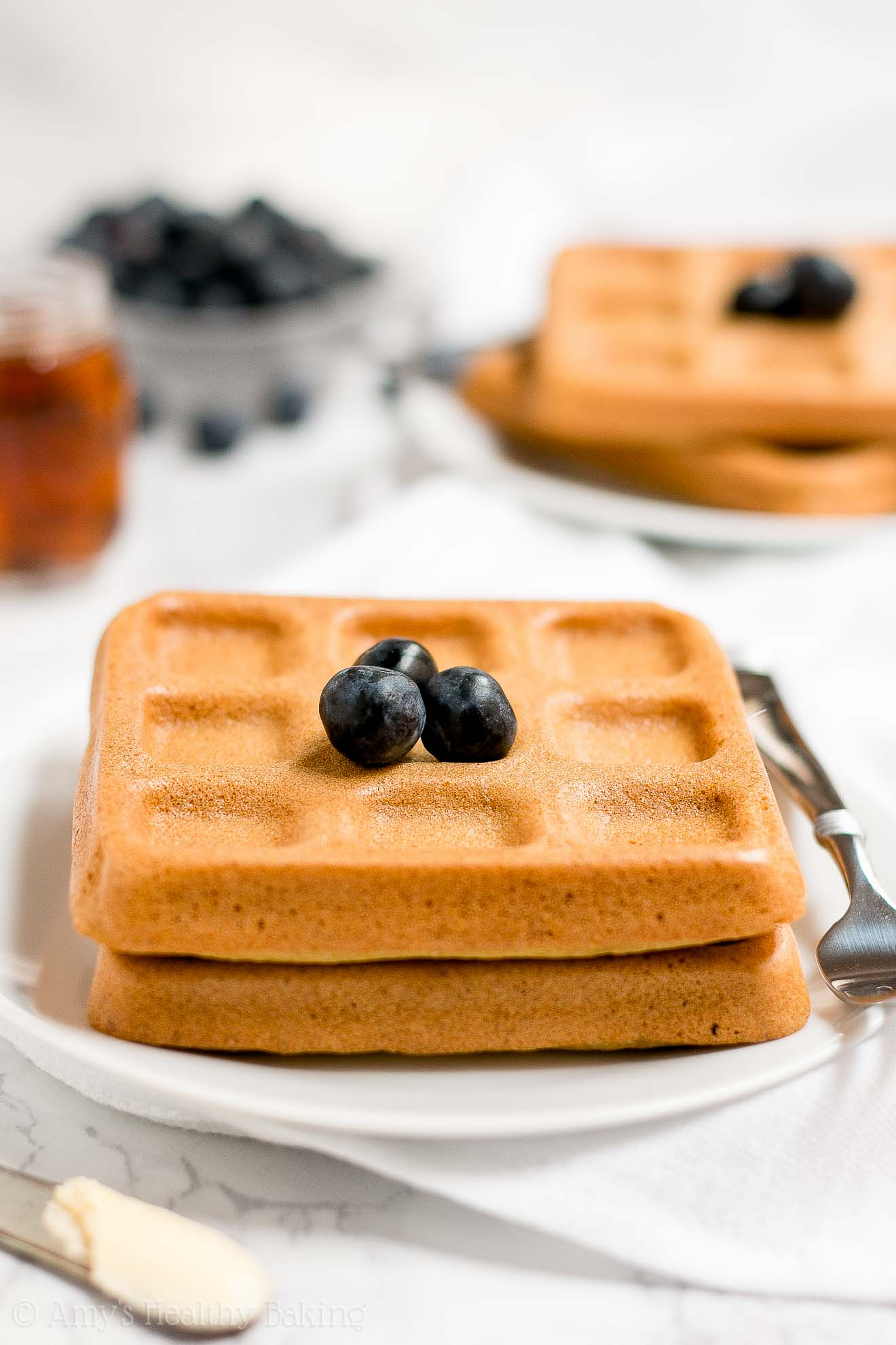 The BEST Healthy Clean Eating Baked Buttermilk Waffles