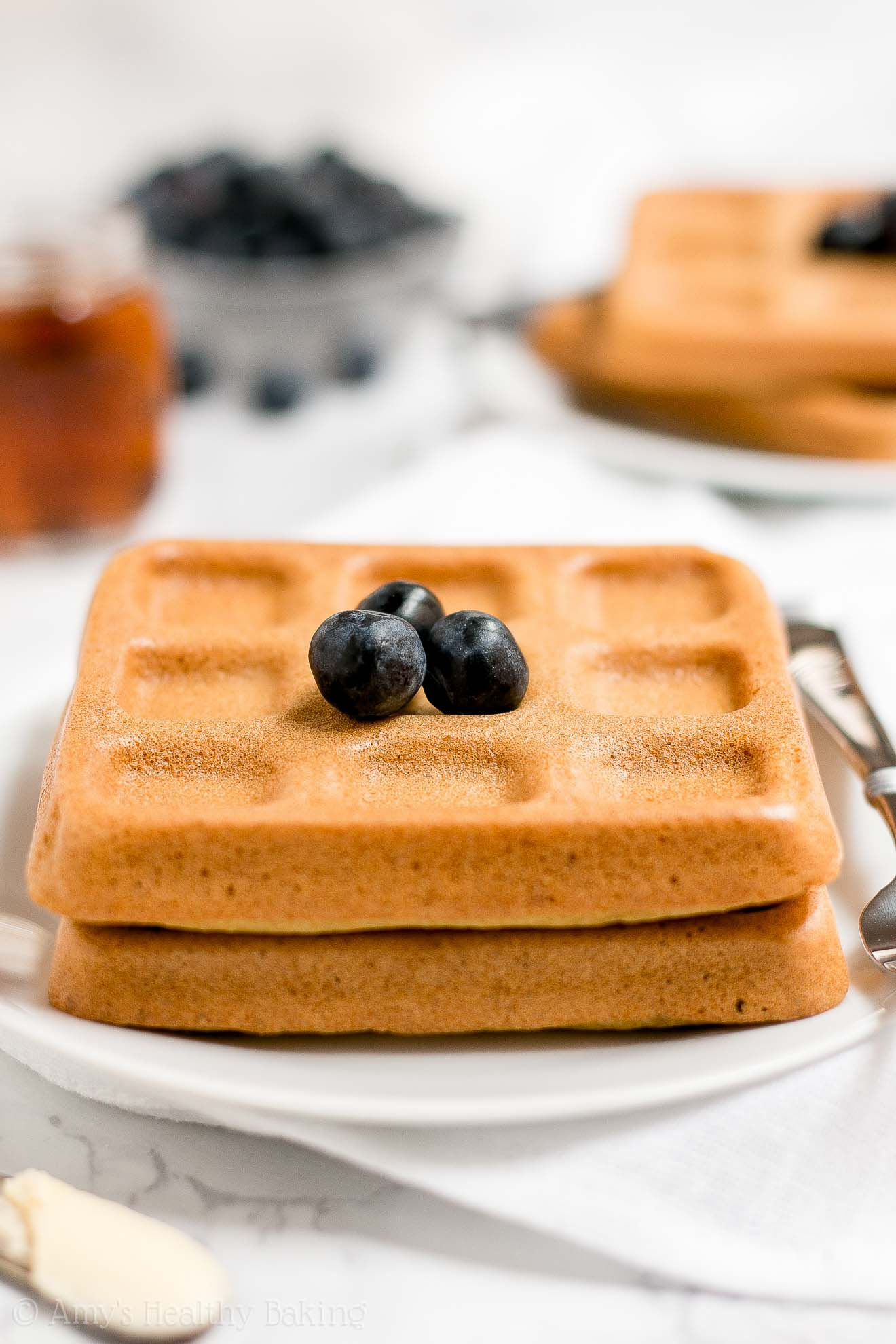 The ULTIMATE Healthy Low Calorie Baked Buttermilk Waffles