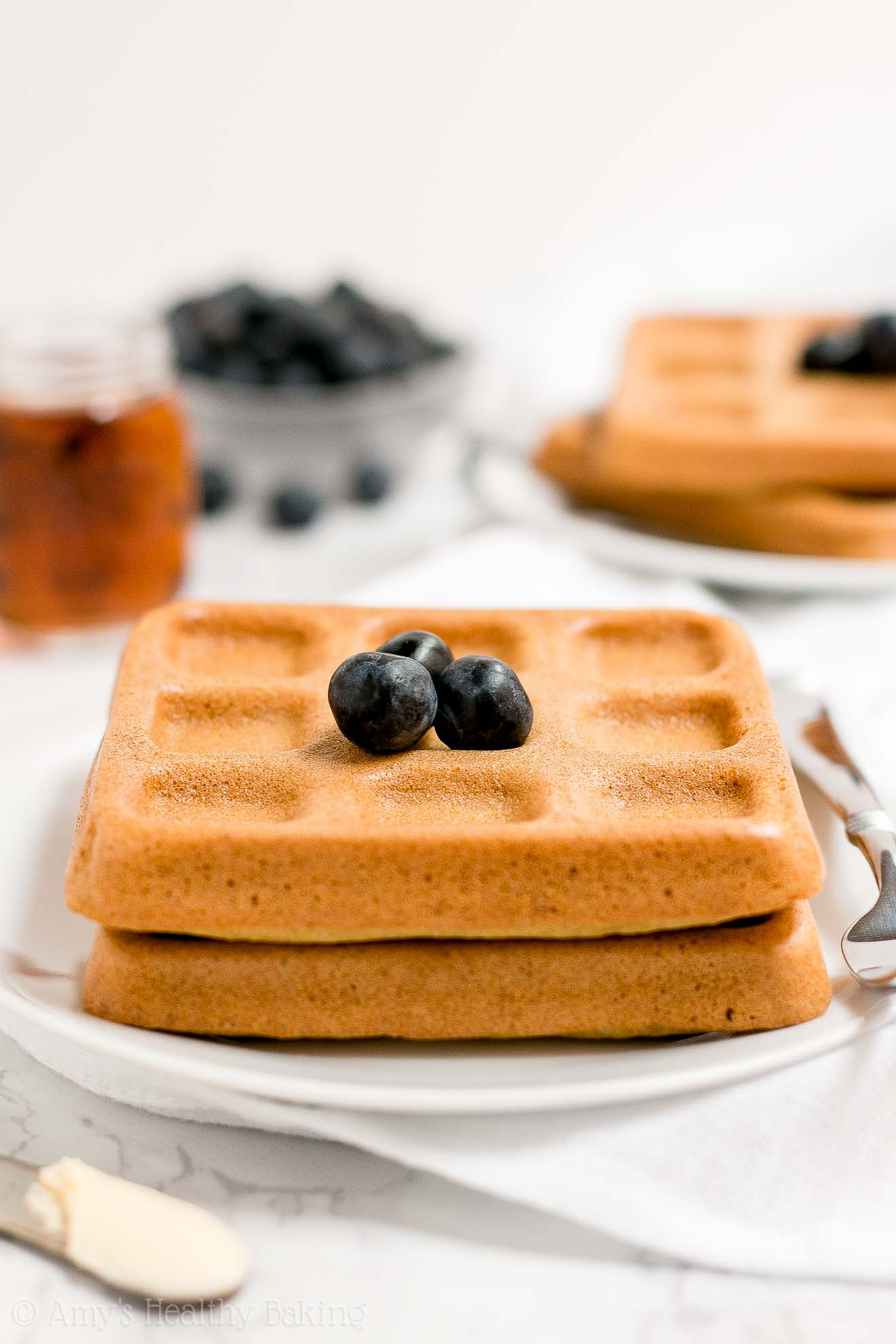 The BEST Easy and Healthy Homemade Baked Buttermilk Waffles