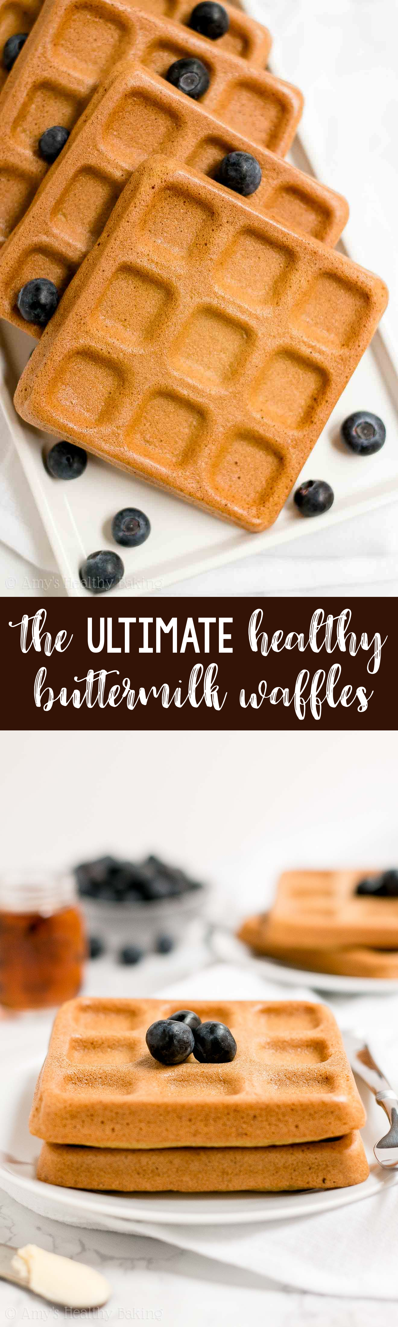 BEST EVER Healthy Baked Buttermilk Waffles that are crispy and fluffy