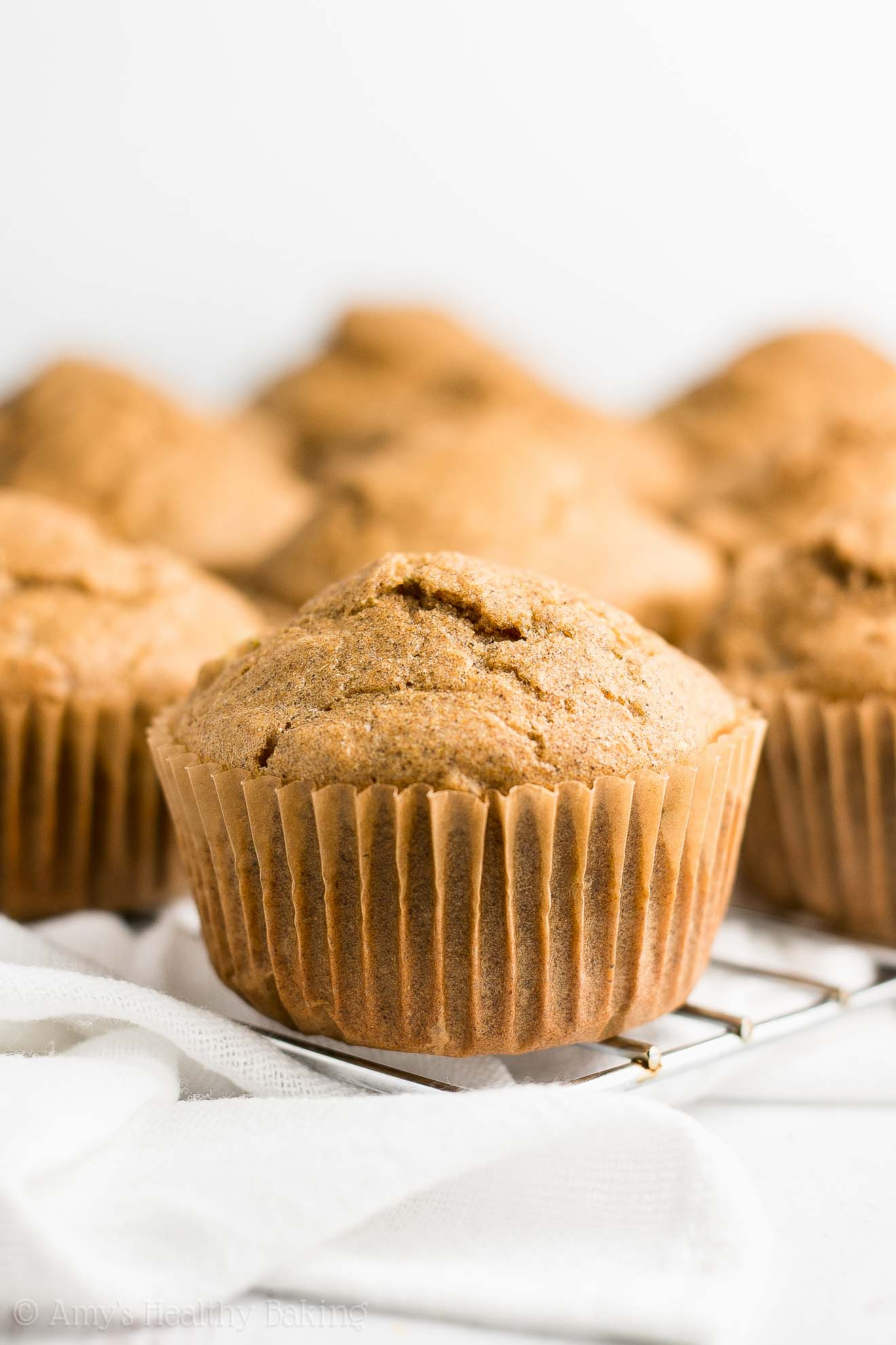 Freshly Baked Healthy Cinnamon Apple Cupcakes without frosting