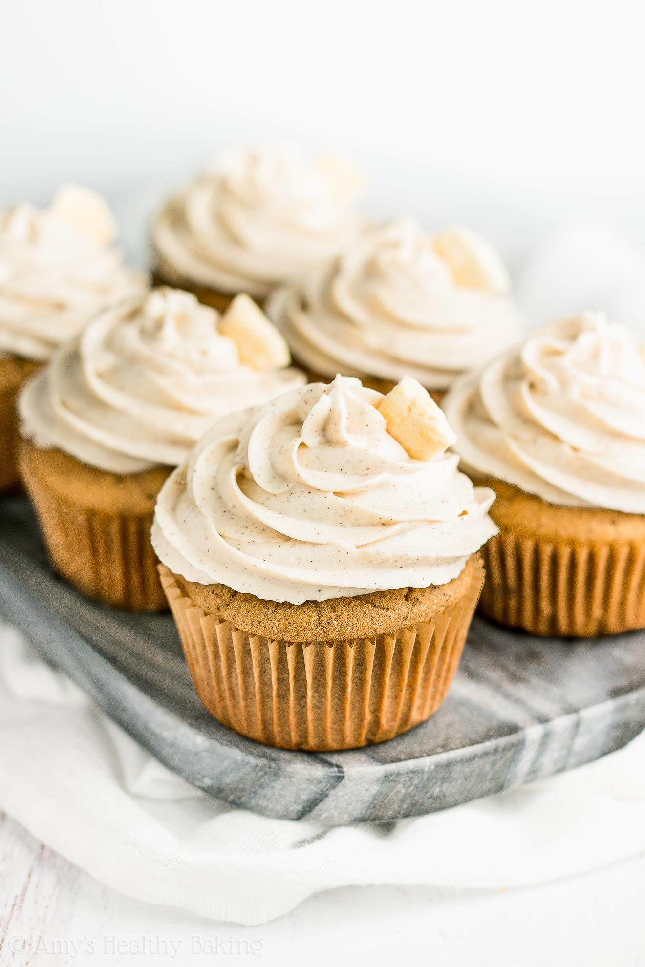 Super Healthy Low Calorie Cinnamon Apple Cupcakes with Greek Yogurt Frosting