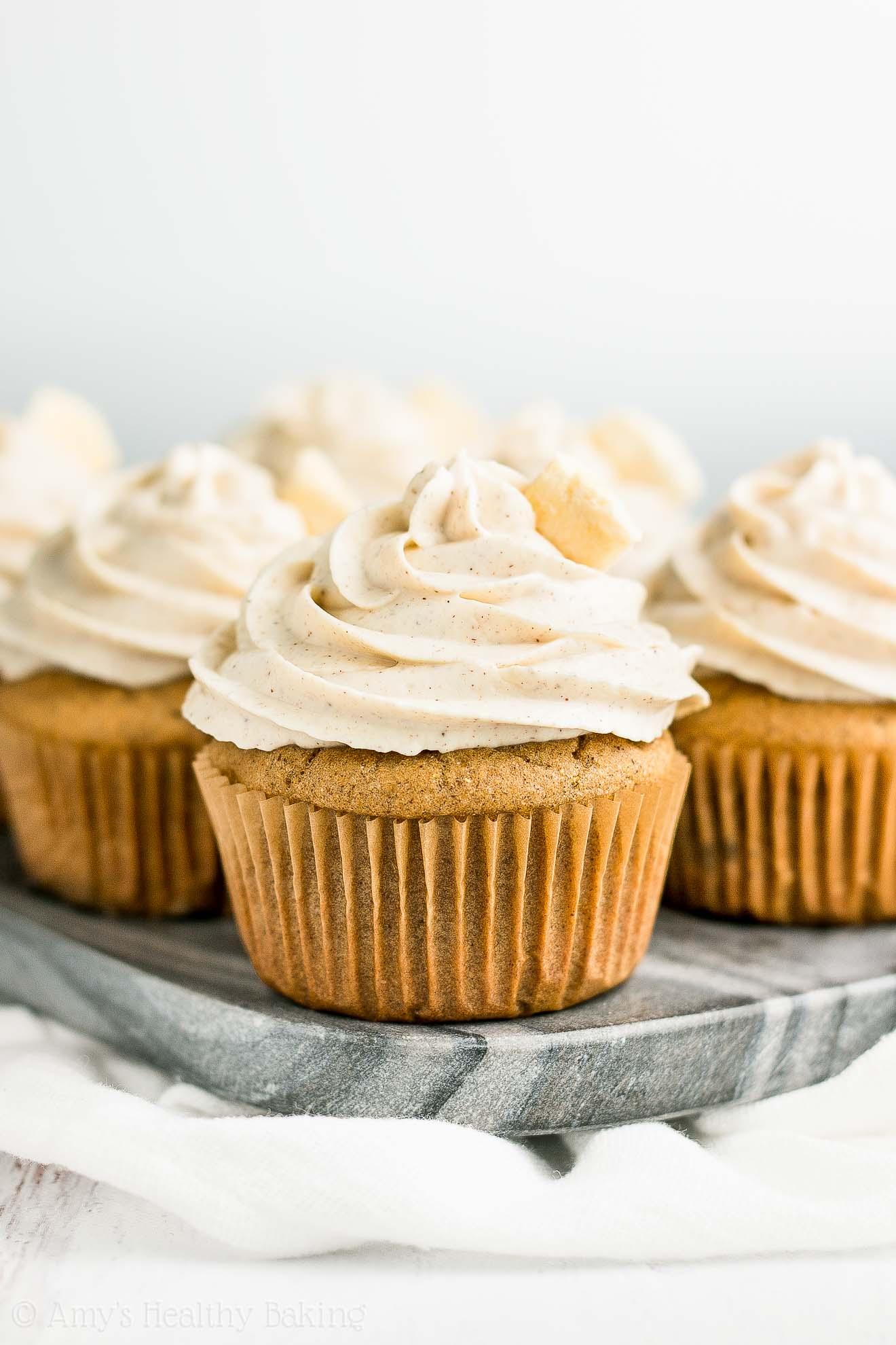 Easy Low-Calorie Healthy Cinnamon Apple Cupcakes with Greek Yogurt Frosting
