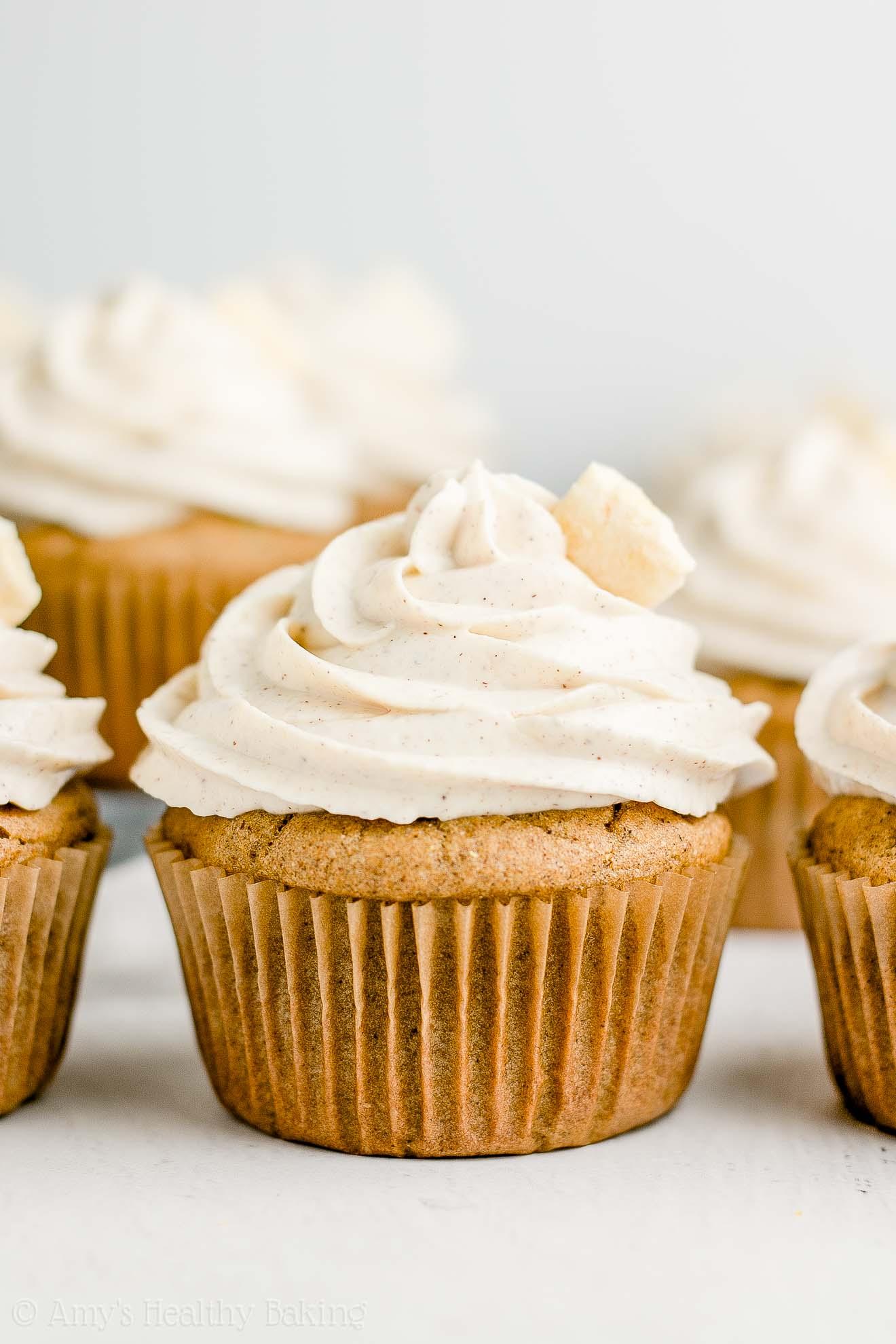 Best Healthy Moist Cinnamon Apple Cupcakes with Cinnamon Frosting