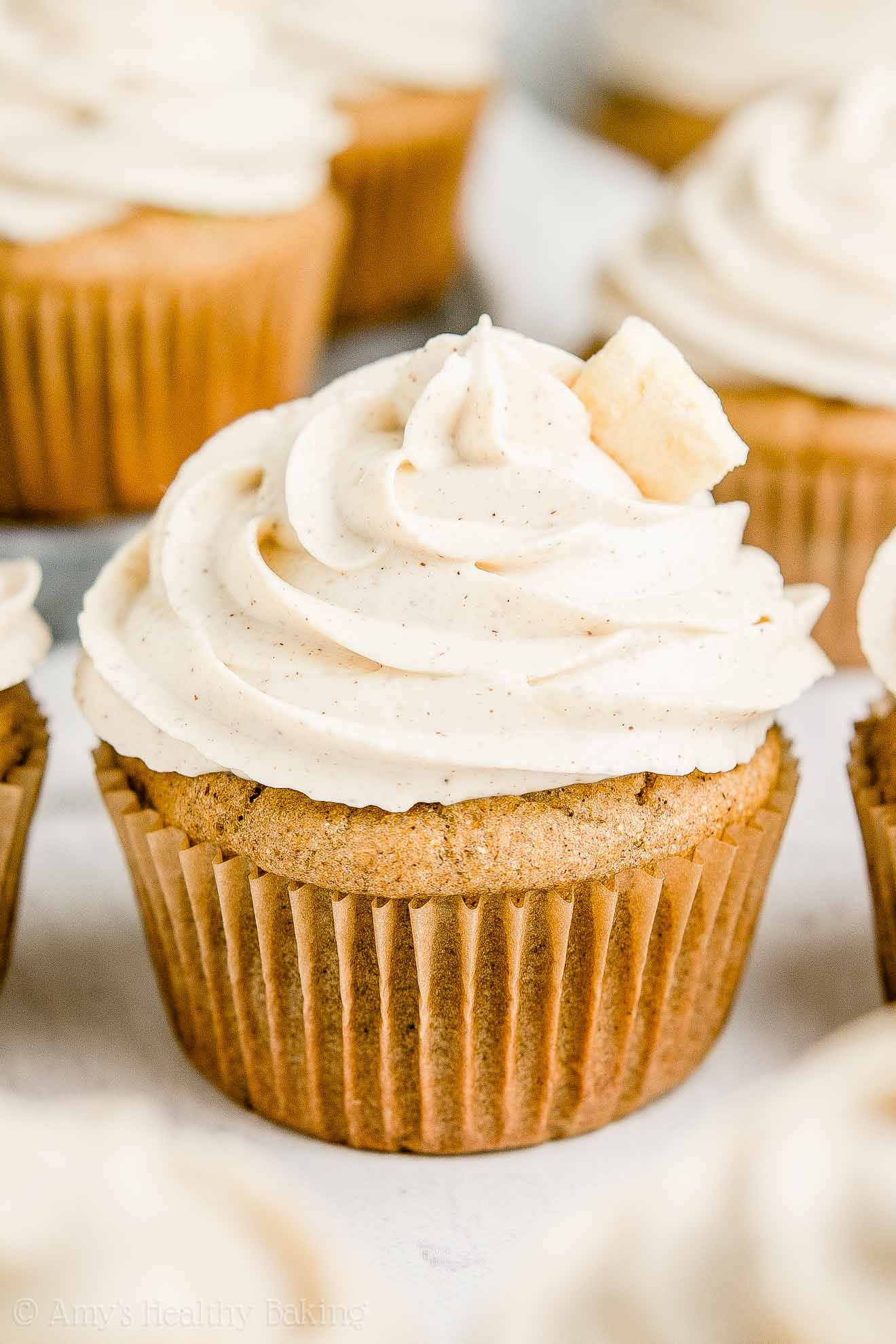Healthy Low Calorie Spiced Apple Cupcakes with Cinnamon Greek Yogurt Frosting