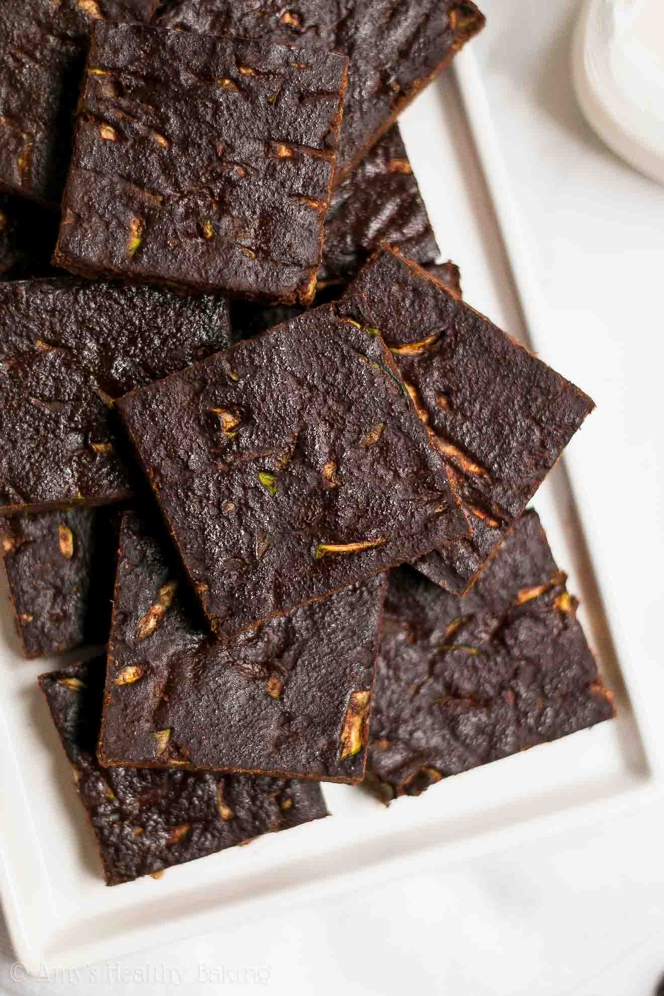 Easy Healthy Low Fat Chocolate Zucchini Brownies