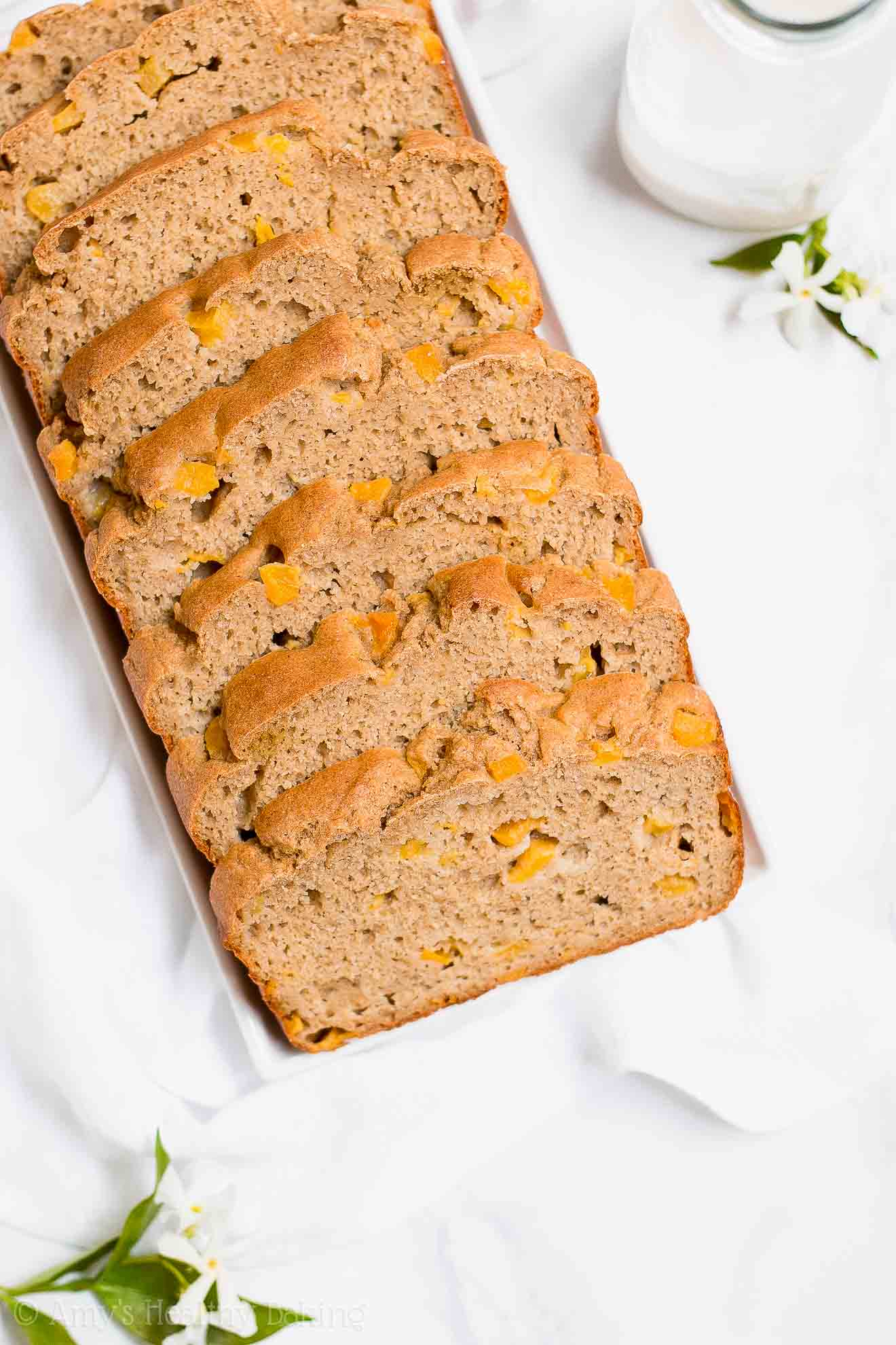 Easy Healthy Gluten Free Almond Peach Pound Cake