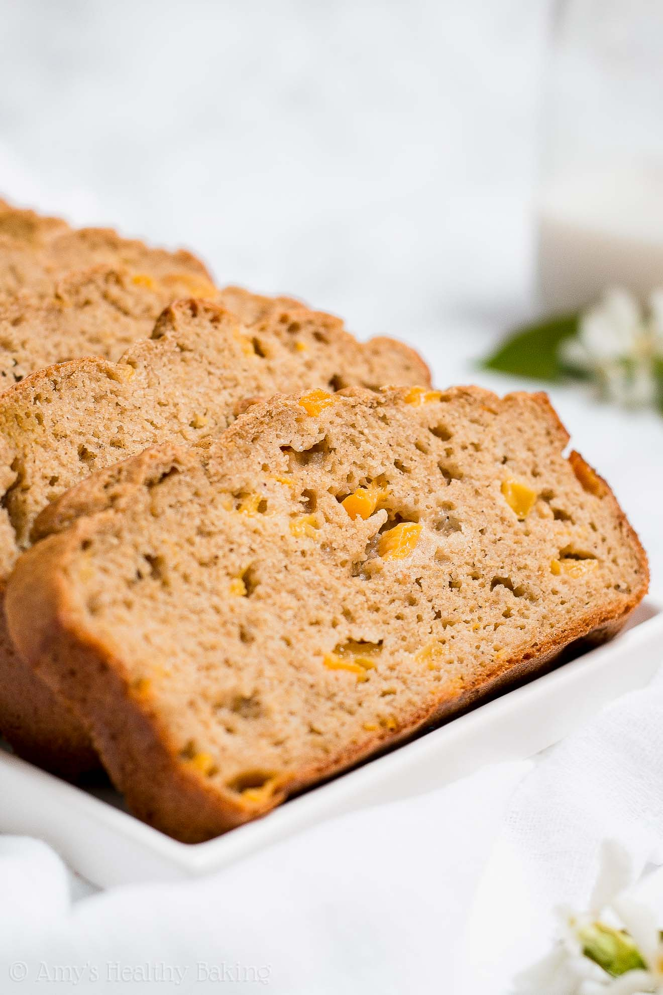 The Best Healthy Peach Pound Cake that's sugar-free and gluten-free