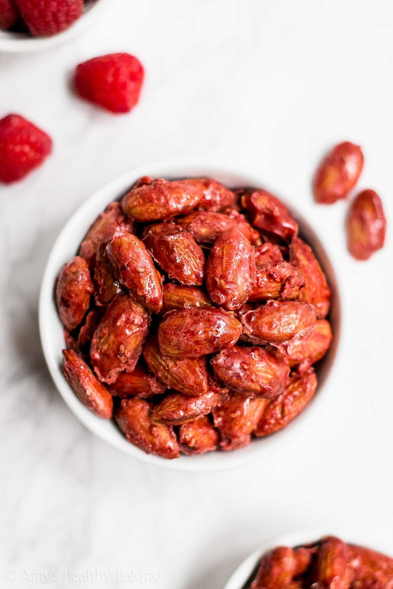 Healthy Low Carb Stovetop Raspberry Glazed Almonds