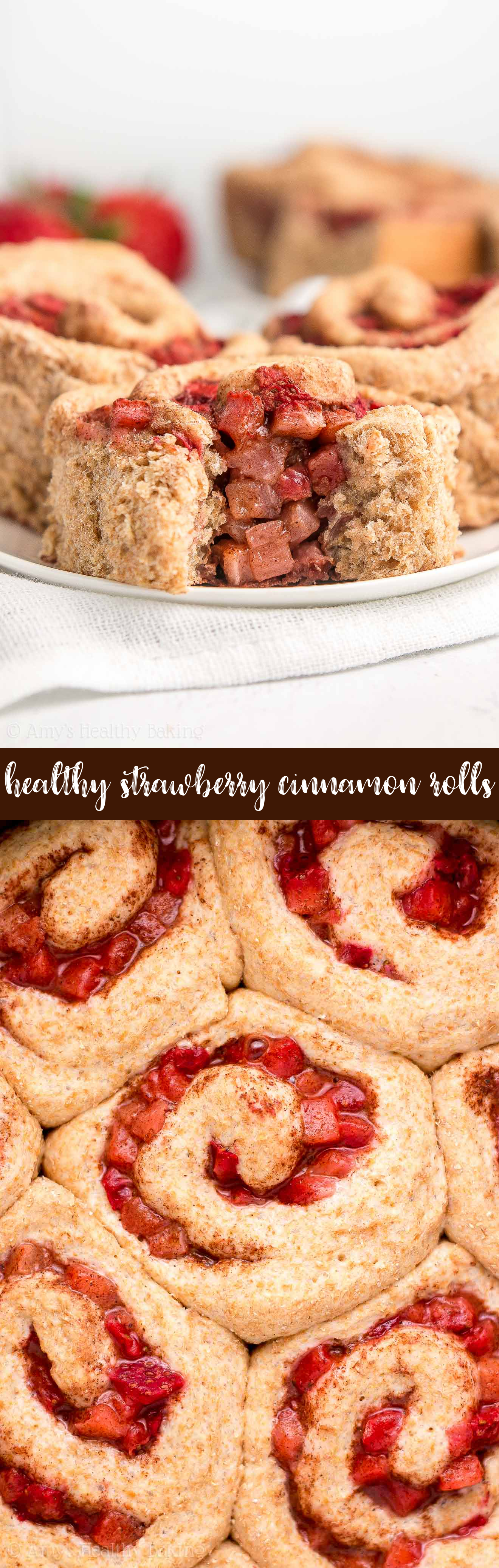 The Best Healthy Low Calorie Whole Wheat Strawberry Cinnamon Rolls