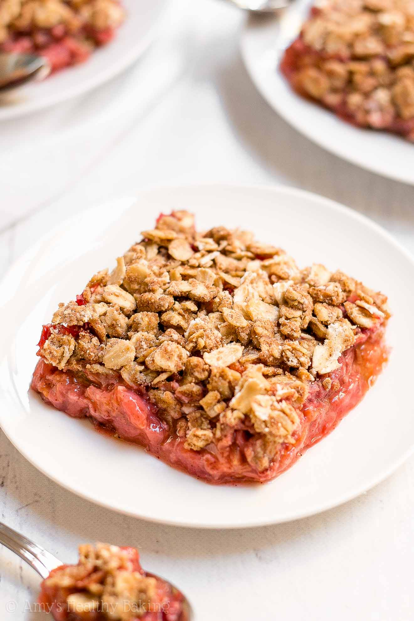 Clean Eating Healthy Strawberry Rhubarb Crumble with Oat Streusel Topping