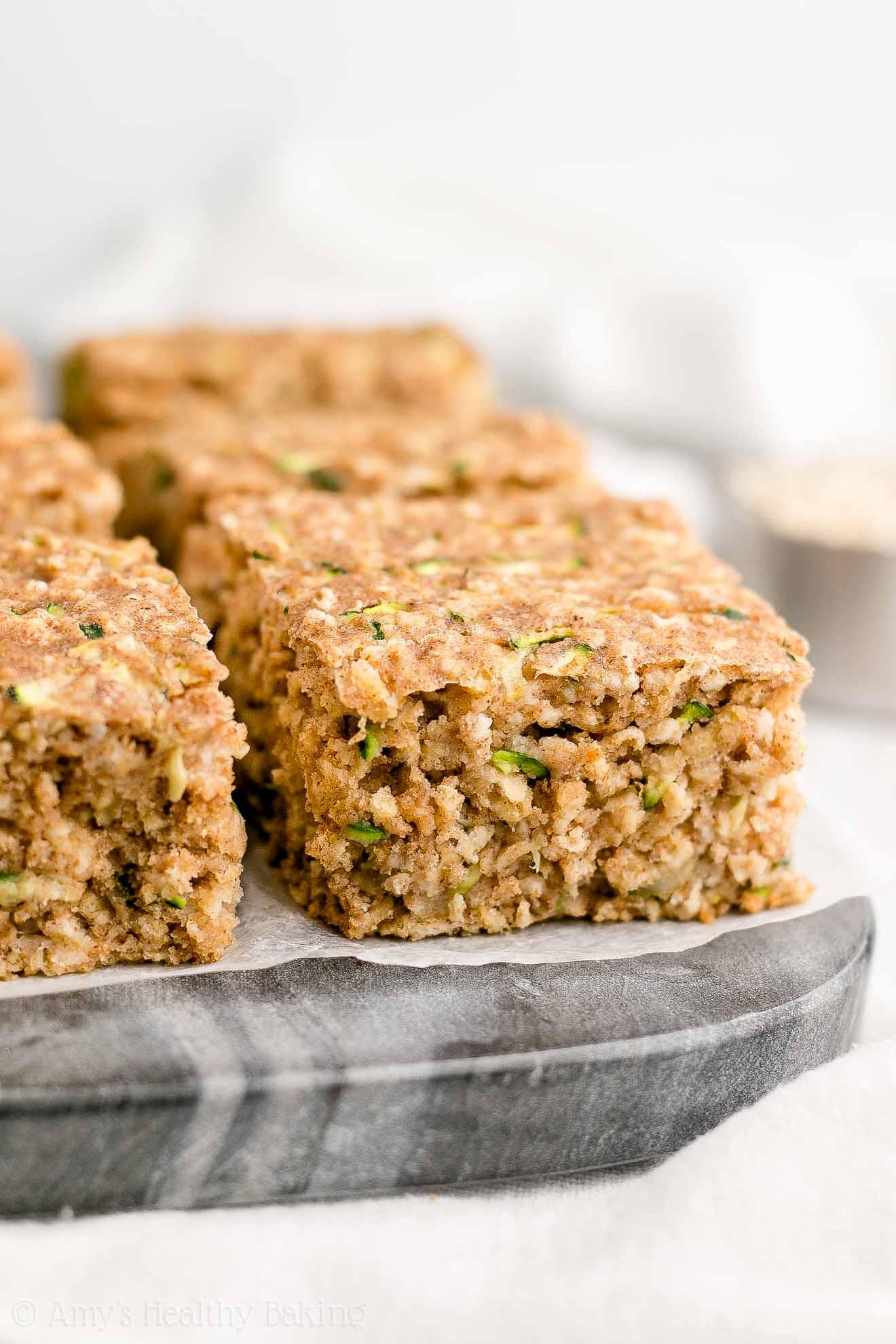 Healthy Low Calorie Moist Zucchini Oatmeal Snack Cake