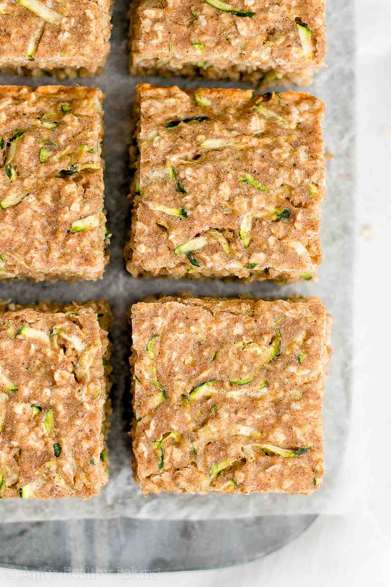 Easy Low Calorie Healthy Gluten Free Zucchini Oatmeal Snack Cake
