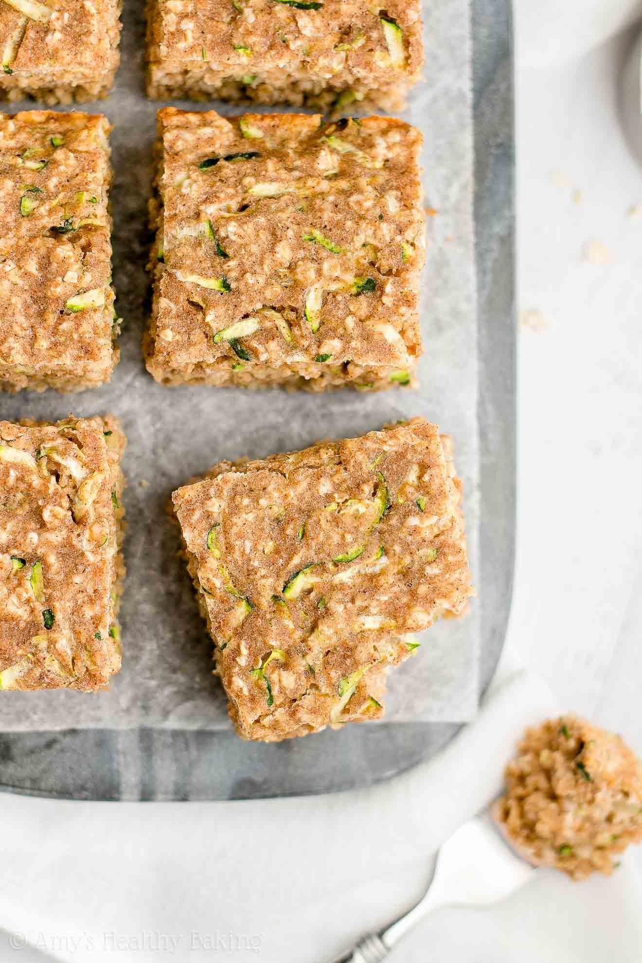 Gluten Free Easy Healthy Zucchini Oatmeal Snack Cake