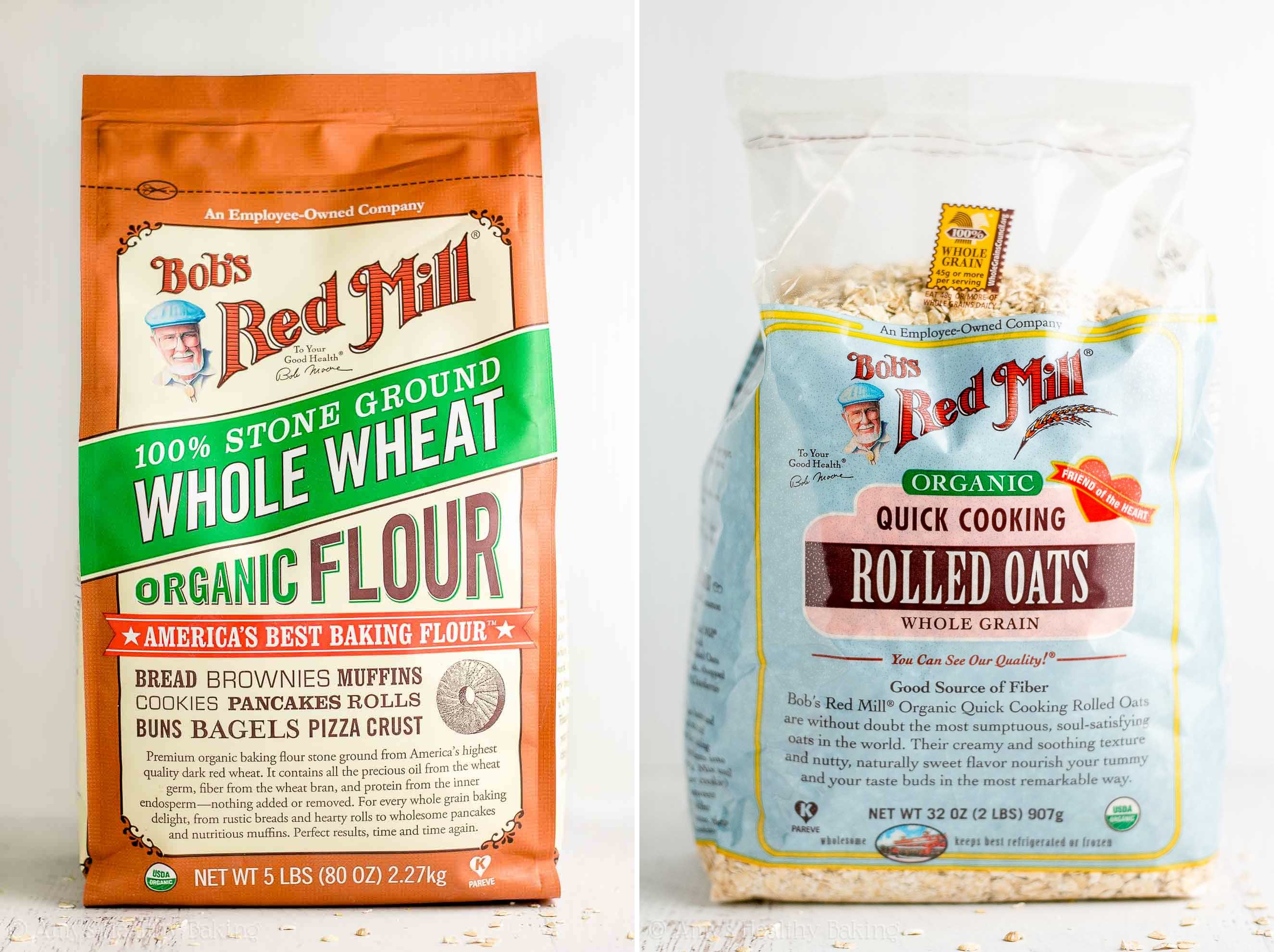 Bags of Bob's Red Mill whole wheat flour and quick cooking oats