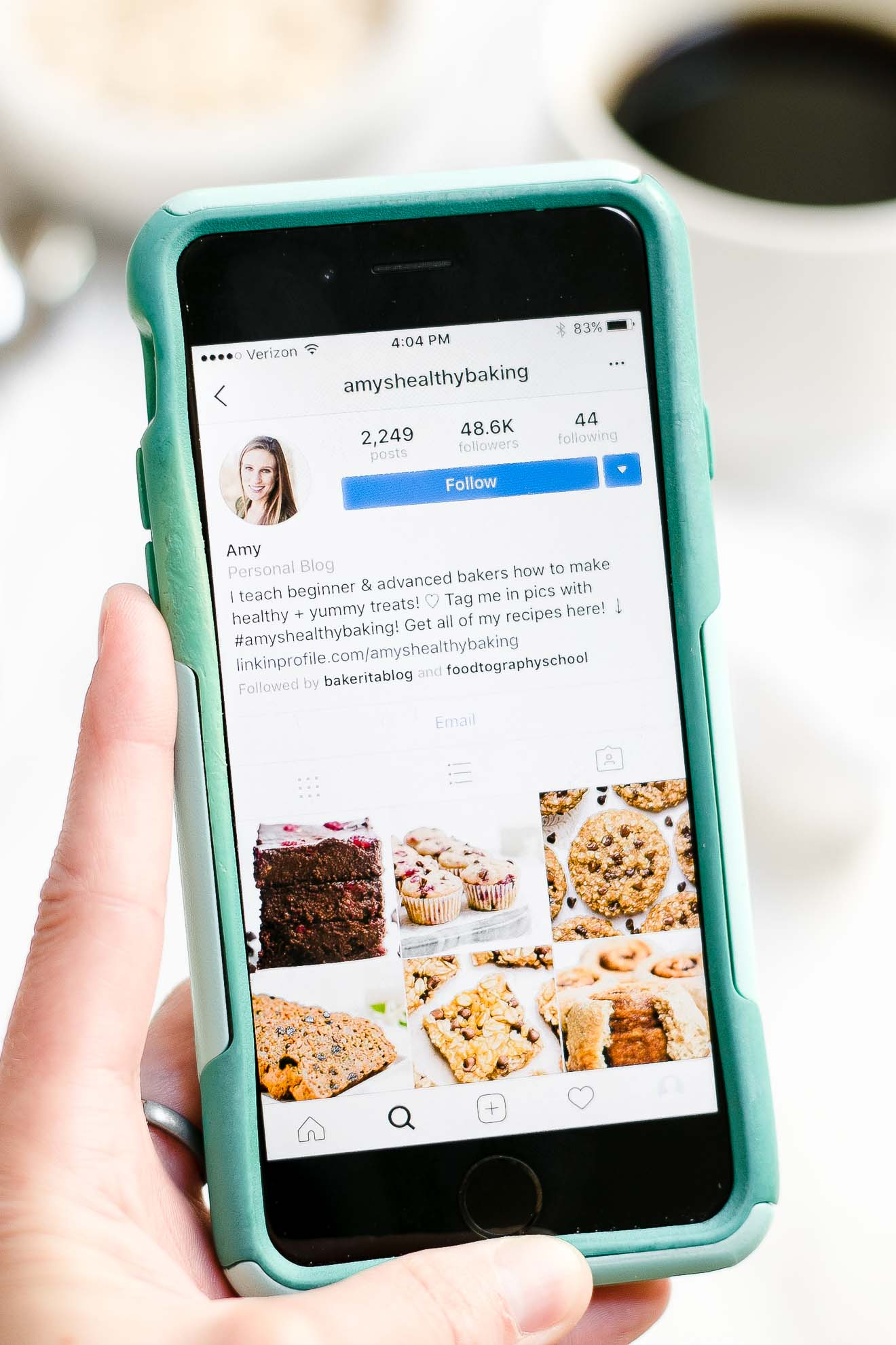 amy's healthy baking instagram account with over 48,600 followers