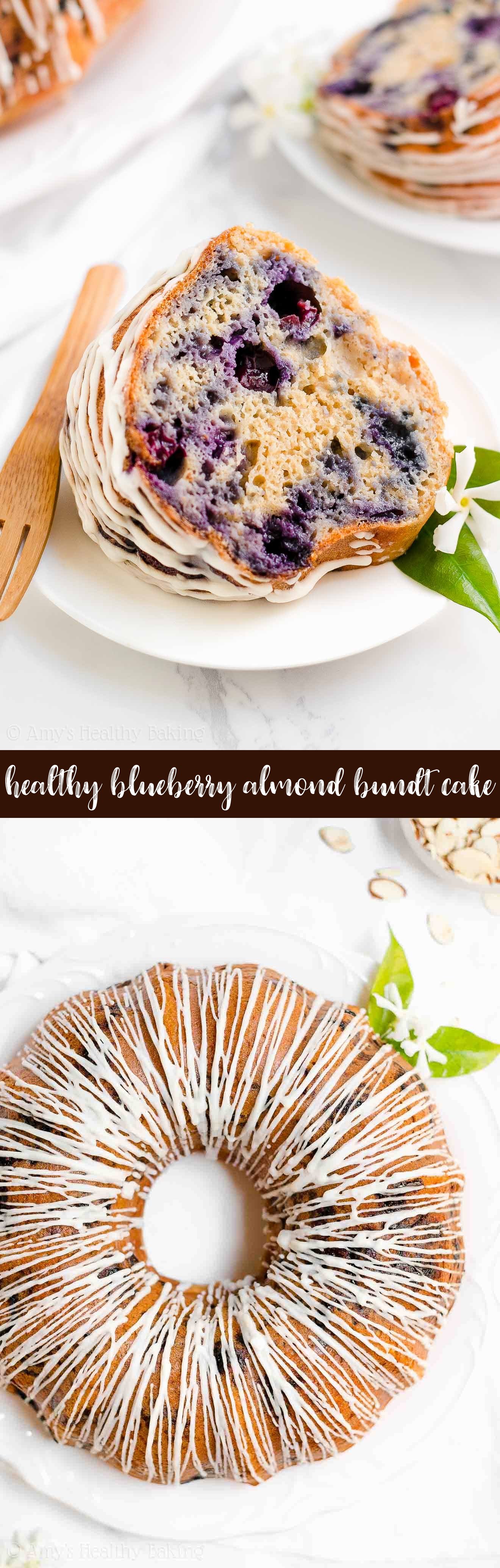 Best Healthy Blueberry Almond Bundt Cake with Almond Drizzle